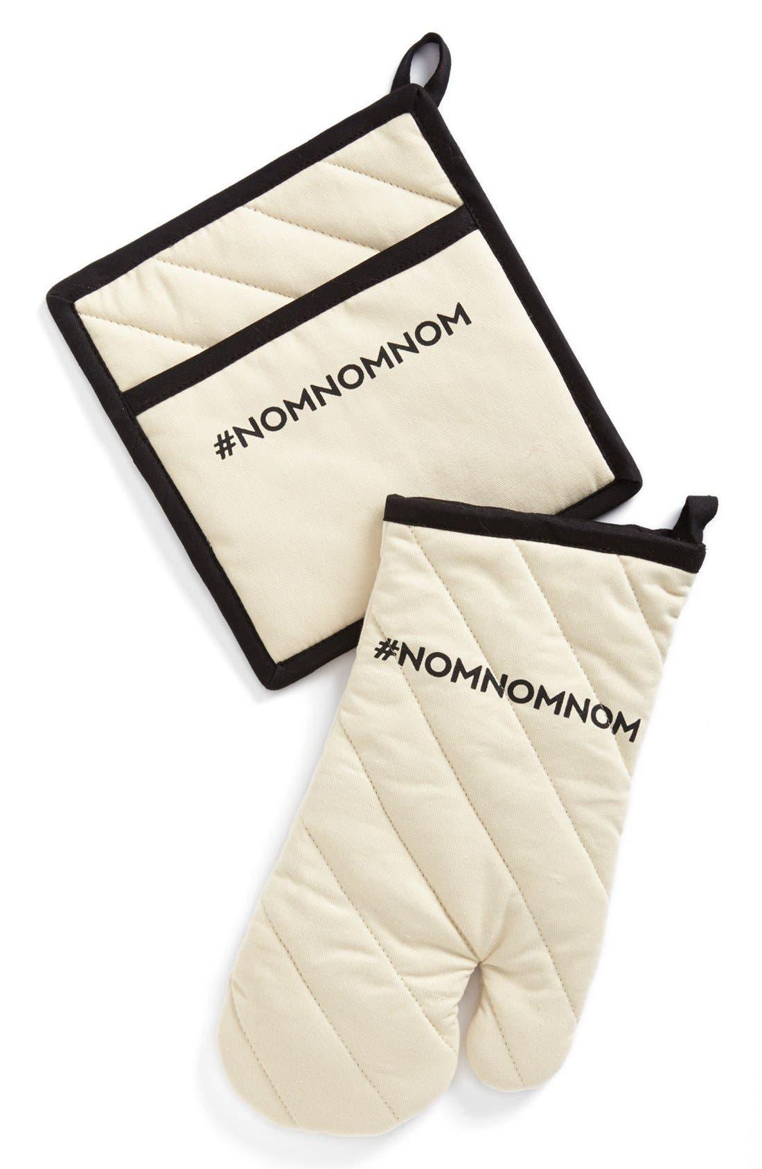 '#NOMNOMNOM' Oven Mitt & Pot Holder,                             Main thumbnail 1, color,