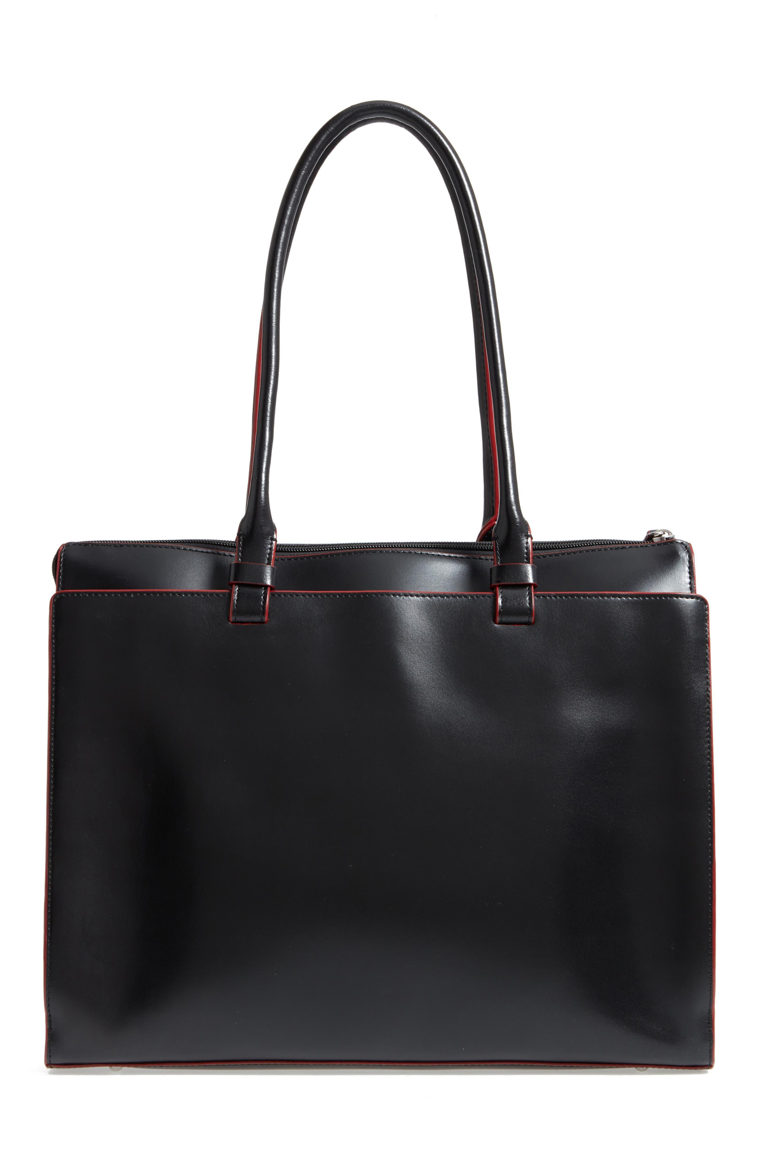 LODIS Audrey Under Lock & Key - Jessica RFID Leather Satchel,                             Alternate thumbnail 3, color,                             BLACK
