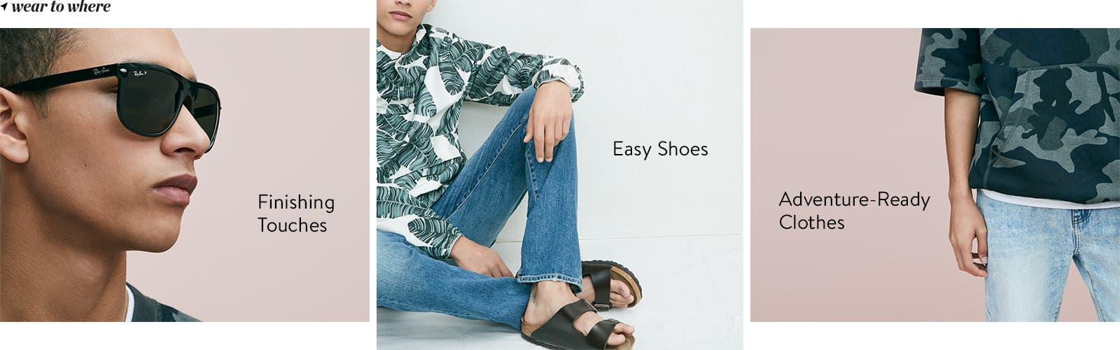 Vacation clothes, shoes and accessories for men.