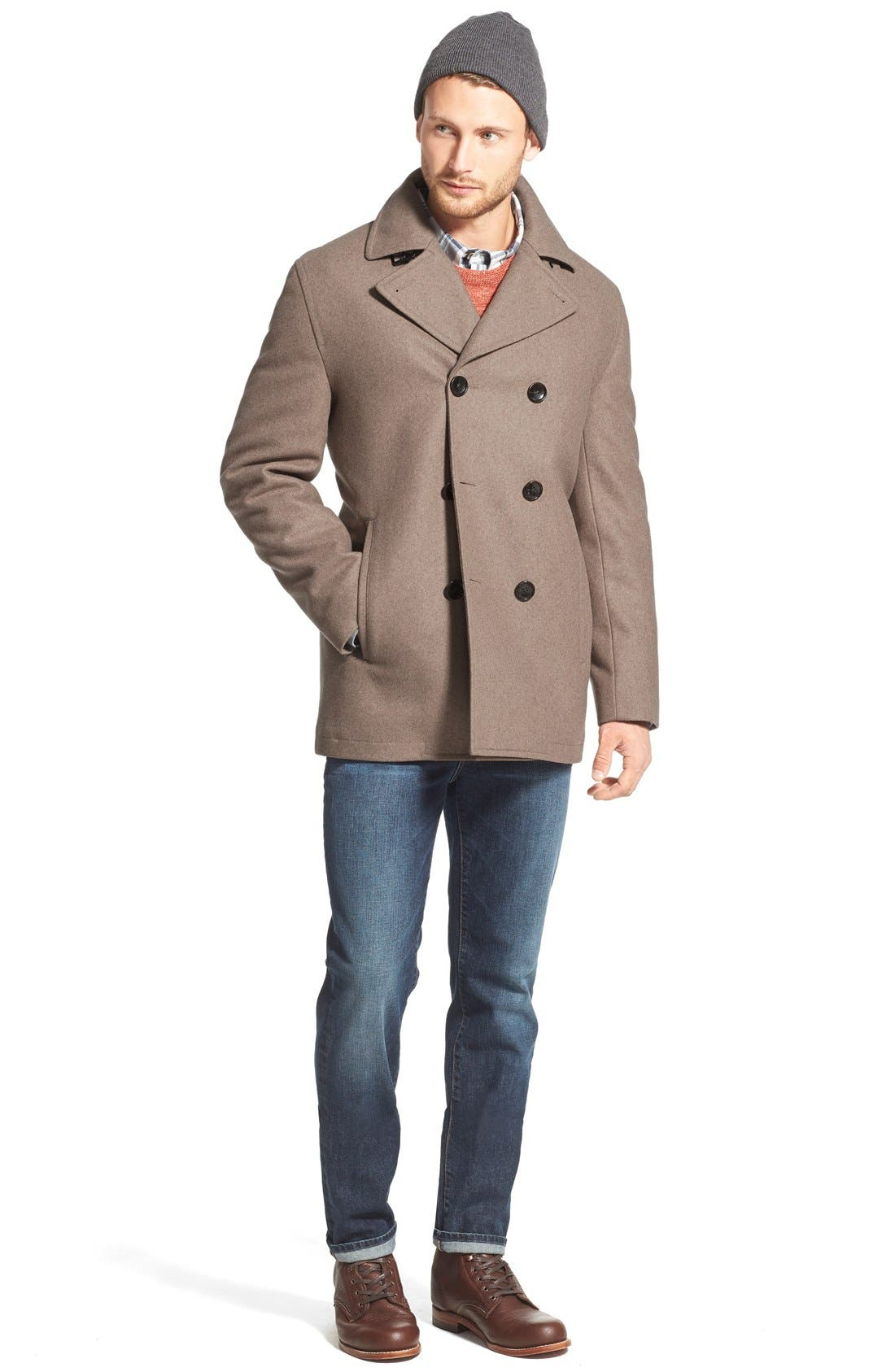 Wool Blend Double Breasted Peacoat,                             Alternate thumbnail 104, color,