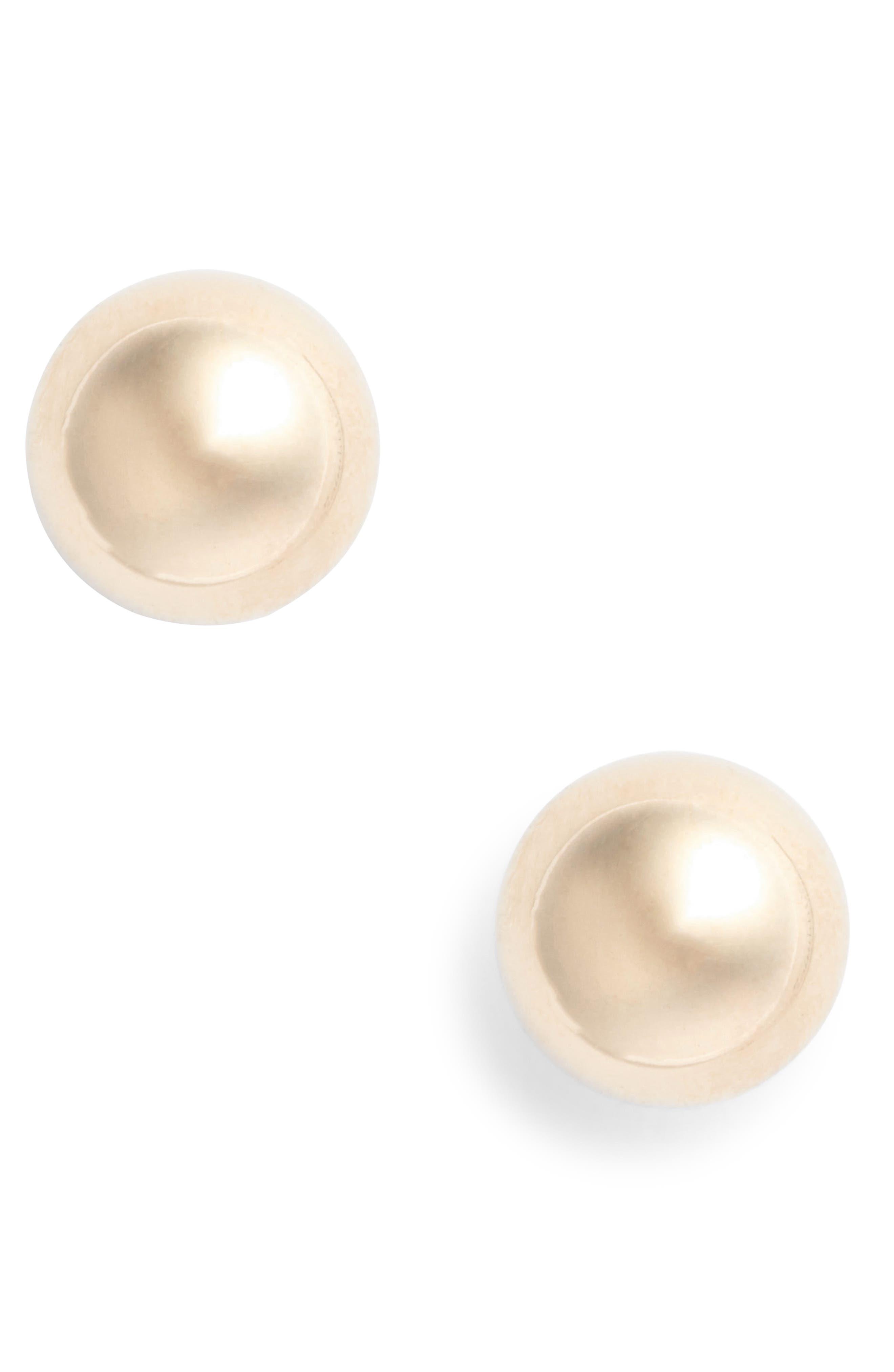 14K Ball Stud Earrings,                             Main thumbnail 1, color,                             YELLOW GOLD