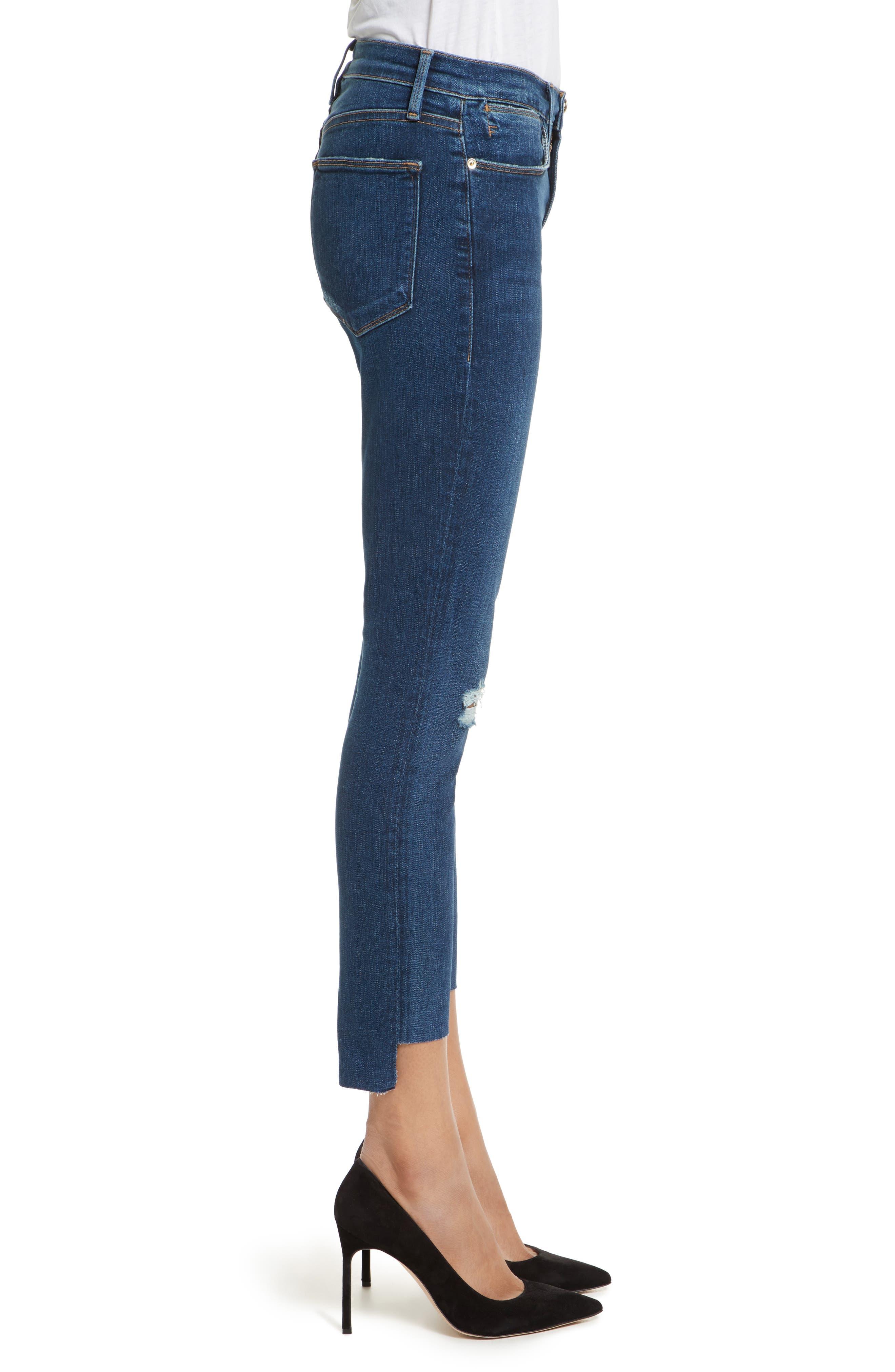 Le High High Waist Staggered Hem Slim Jeans,                             Alternate thumbnail 3, color,                             420