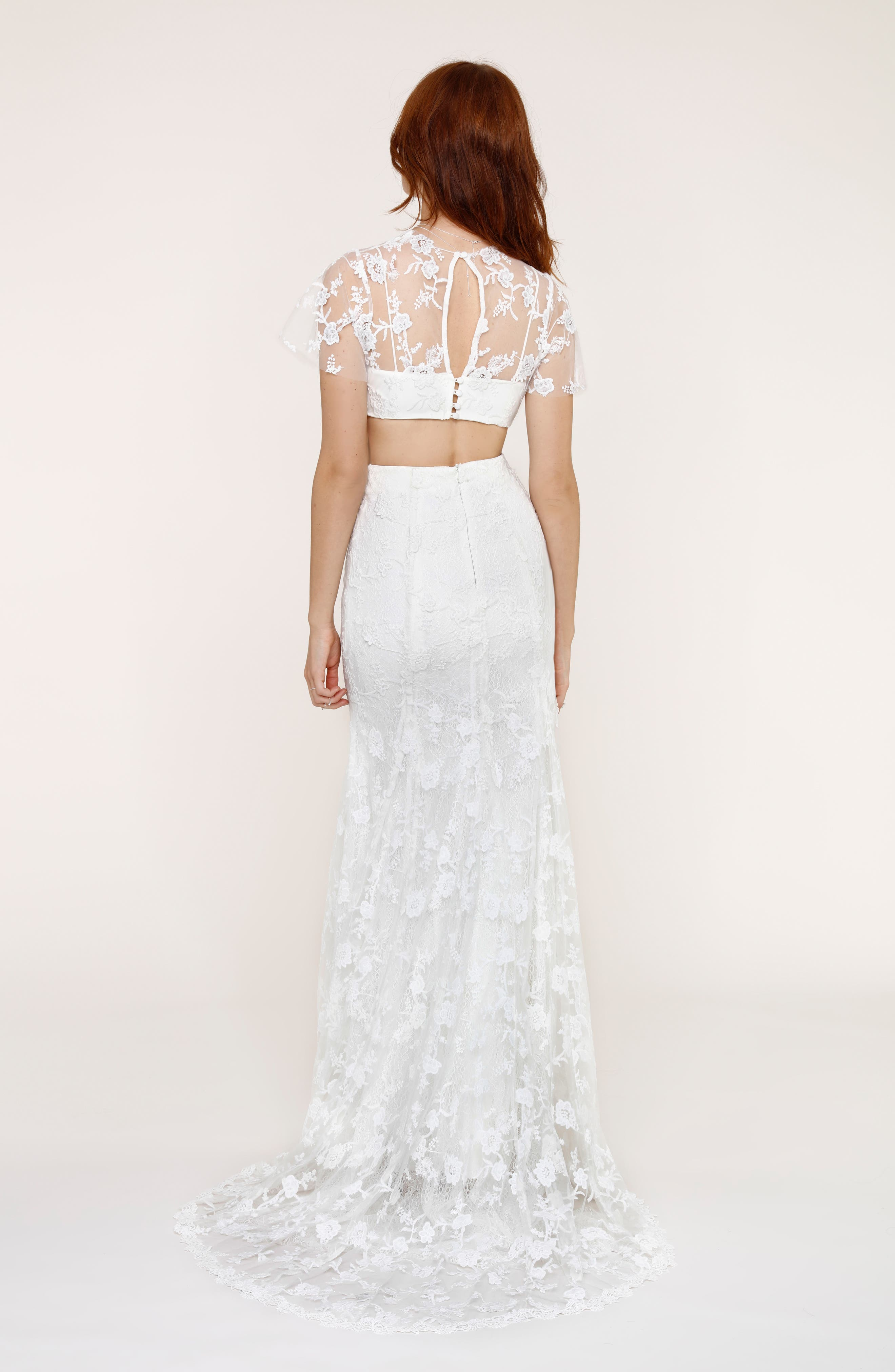 Maddie Lace Two-Piece Mermaid Gown,                             Alternate thumbnail 2, color,                             101