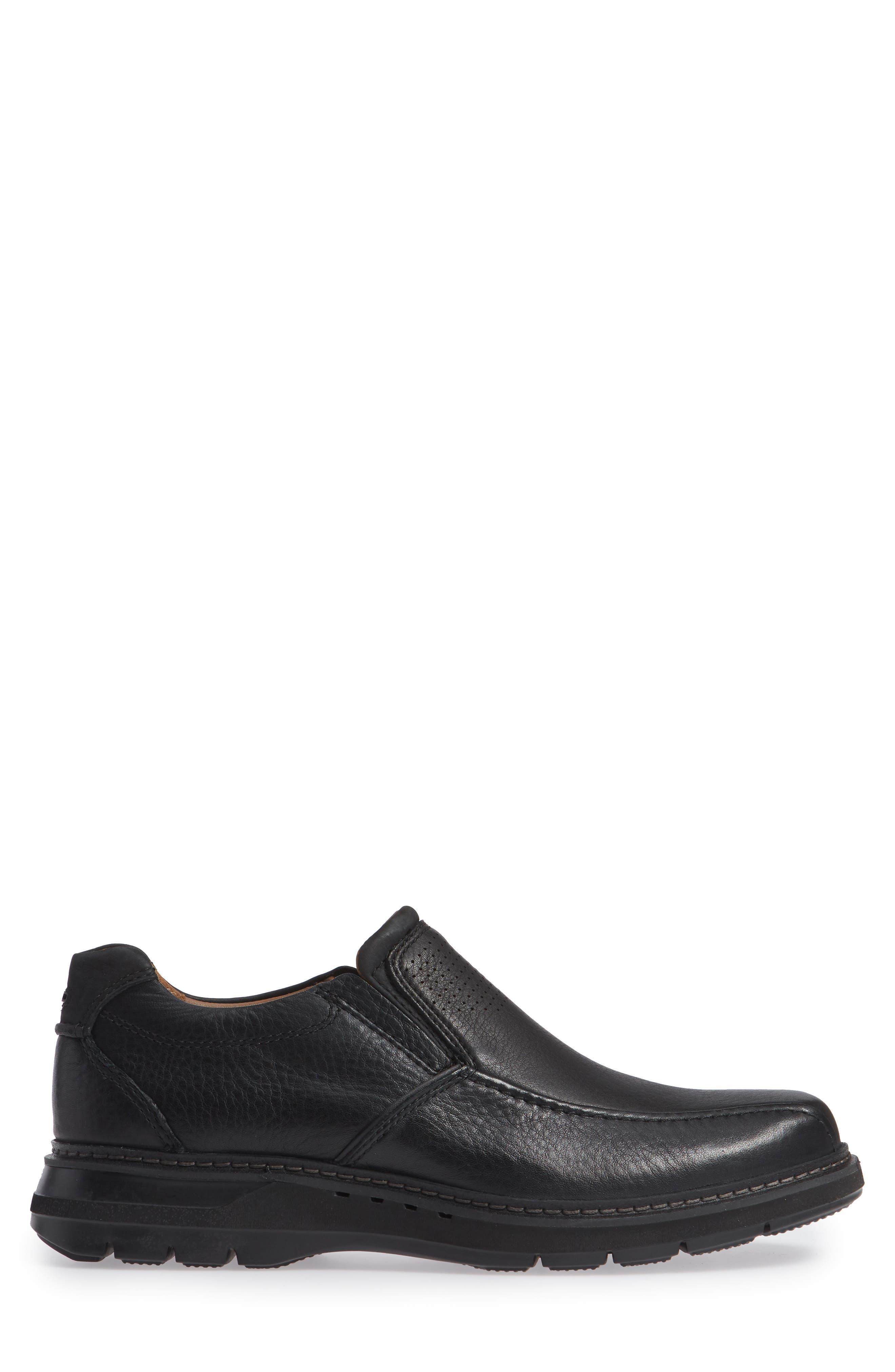Un Ramble Step Venetian Loafer,                             Alternate thumbnail 3, color,                             BLACK LEATHER