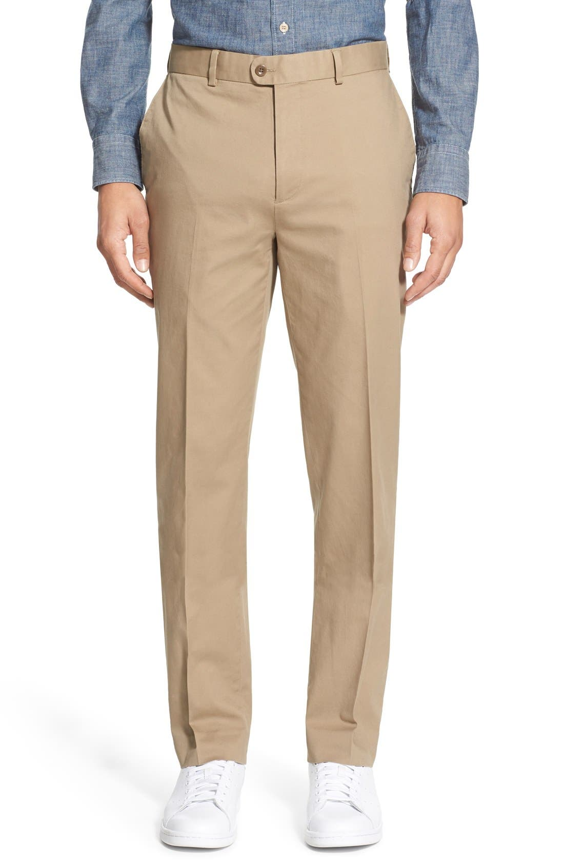 Washed Trim Fit Stretch Cotton Trousers,                             Main thumbnail 6, color,