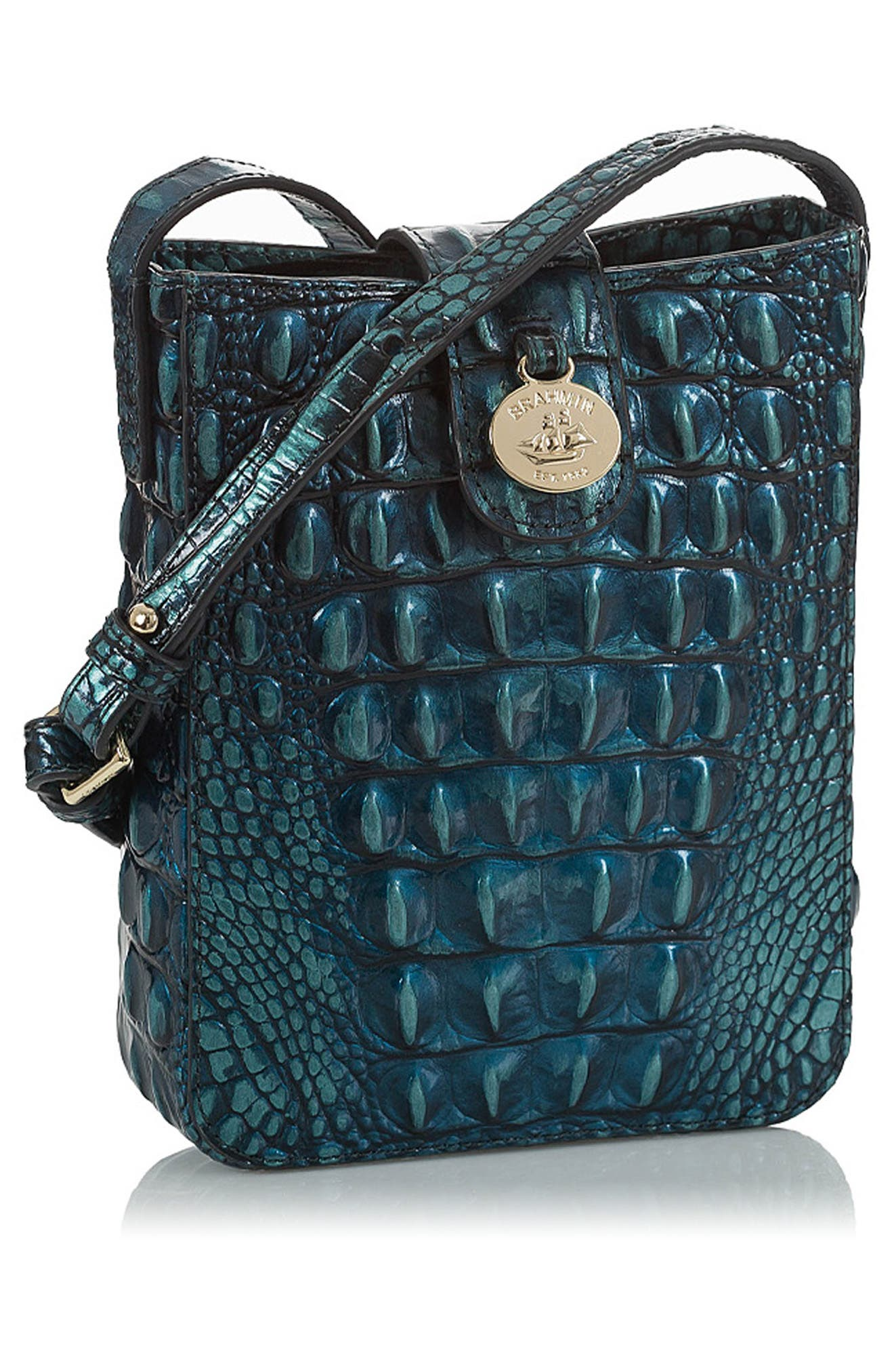 Marley Croc Embossed Leather Crossbody Bag,                             Alternate thumbnail 4, color,                             VERDIGRIS