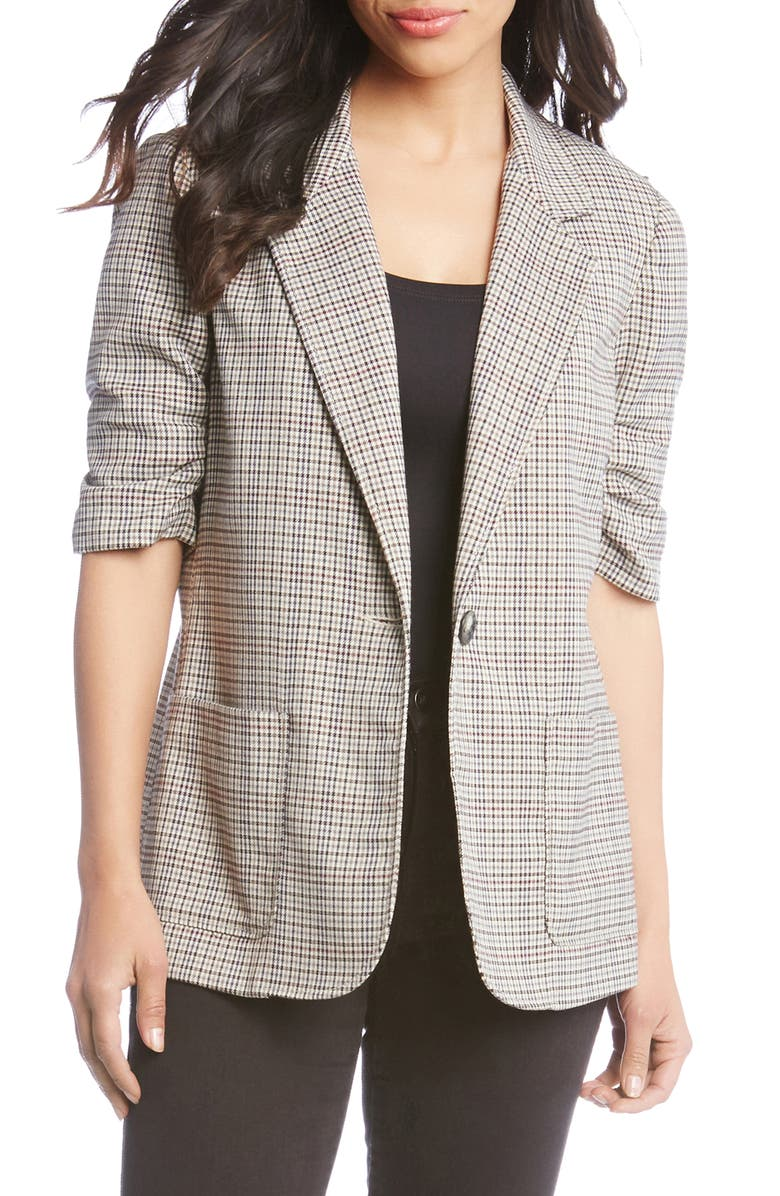 Ruched Sleeve Plaid Jacket,                         Main,                         color, GLEN PLAID