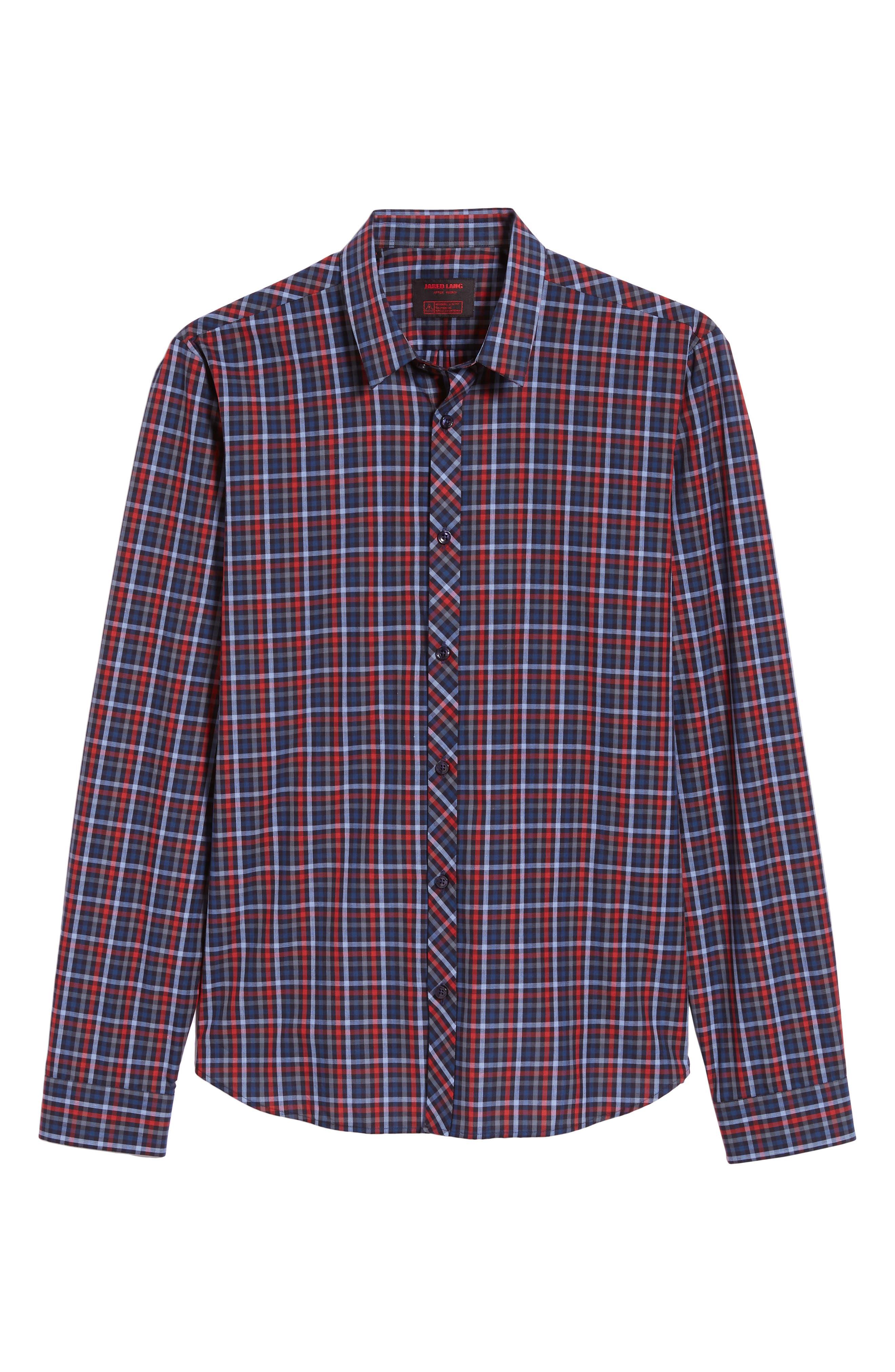Trim Fit Sport Shirt,                             Alternate thumbnail 5, color,                             RED - BLUE MULTI CHECK