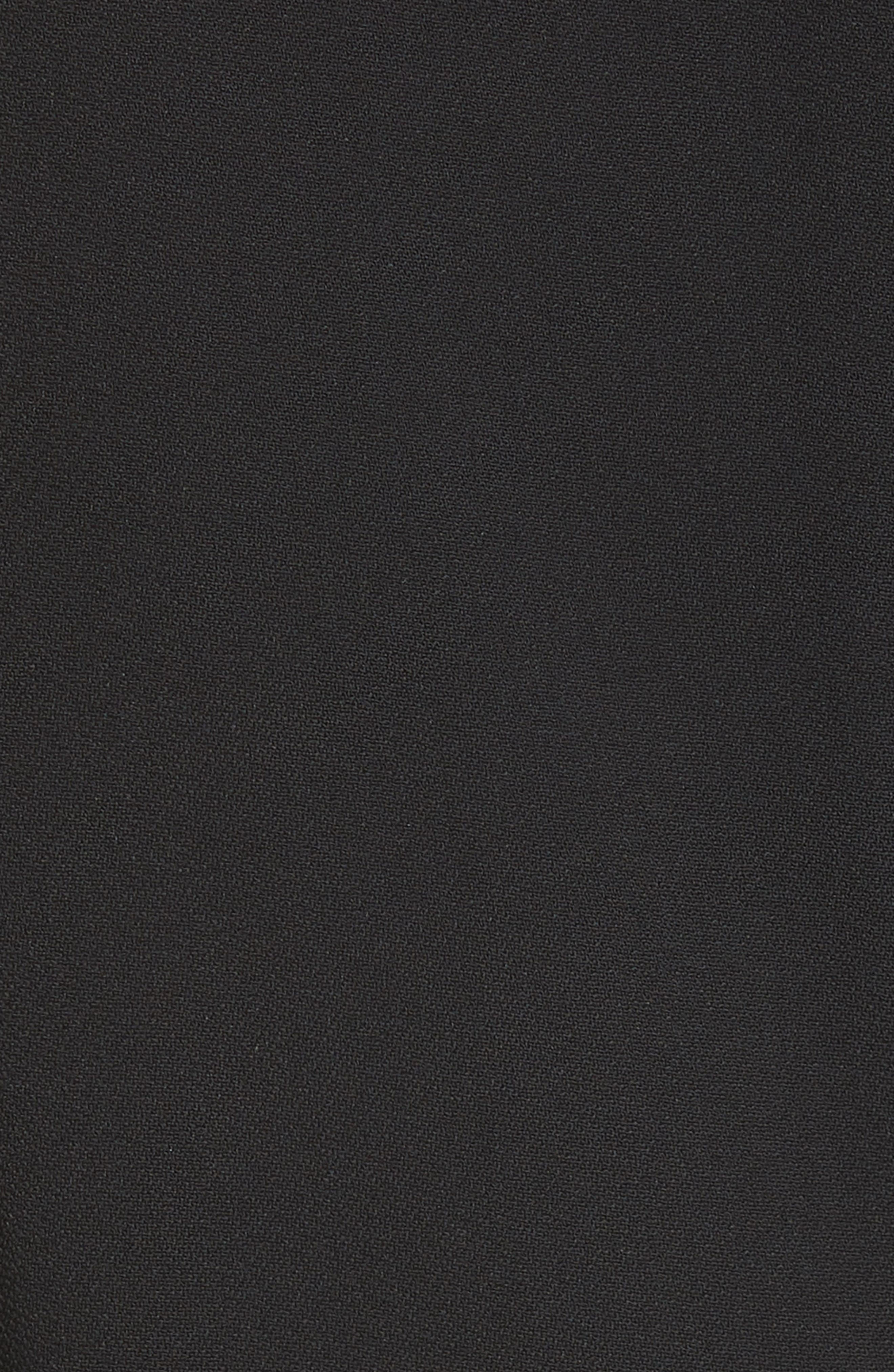 Ruffle Trim Keyhole Dress,                             Alternate thumbnail 5, color,                             BLACK