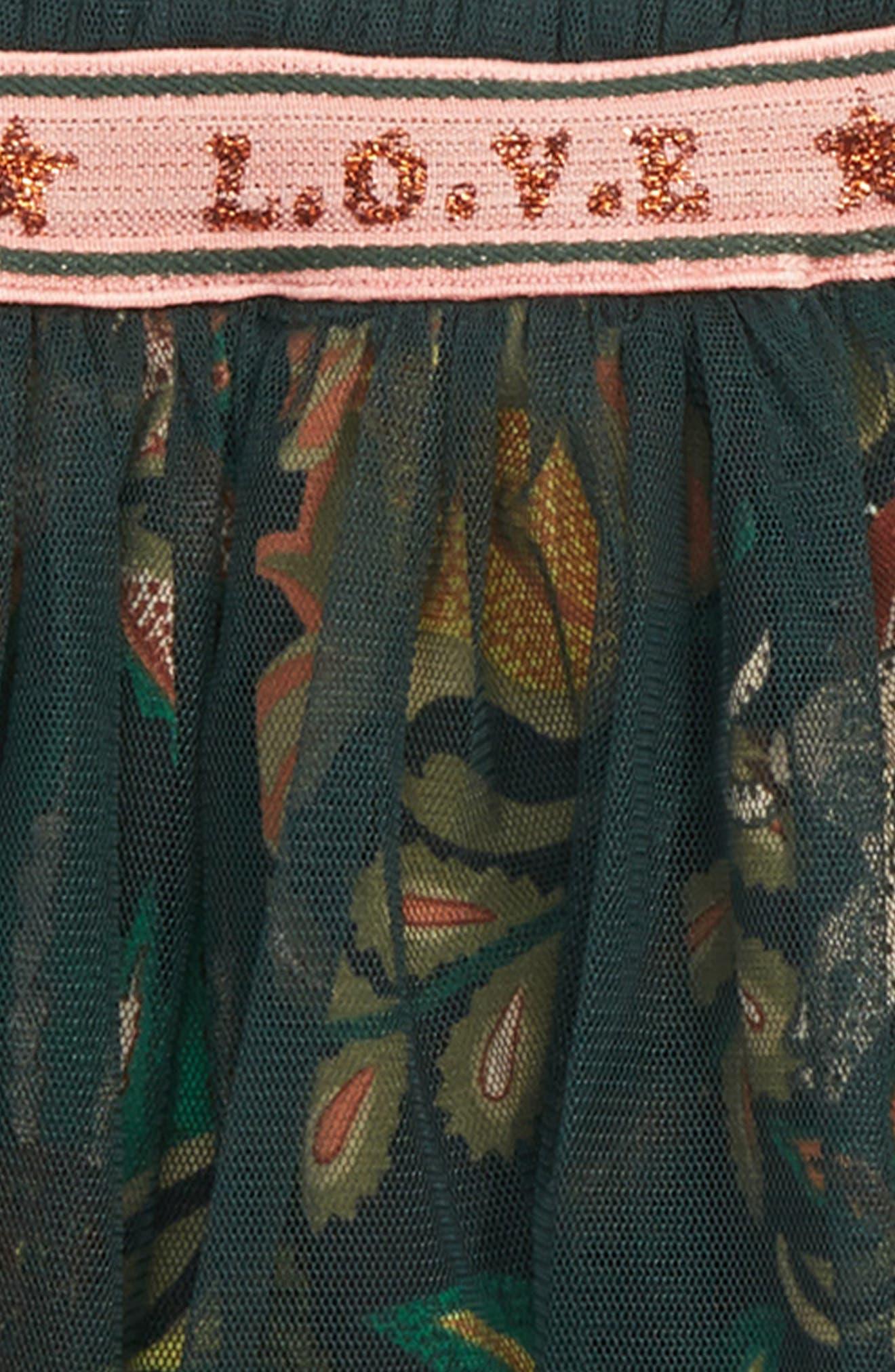Scotch R'Belle Mesh Tutu Skirt,                             Alternate thumbnail 2, color,                             BLACK AND GREEN FLORAL