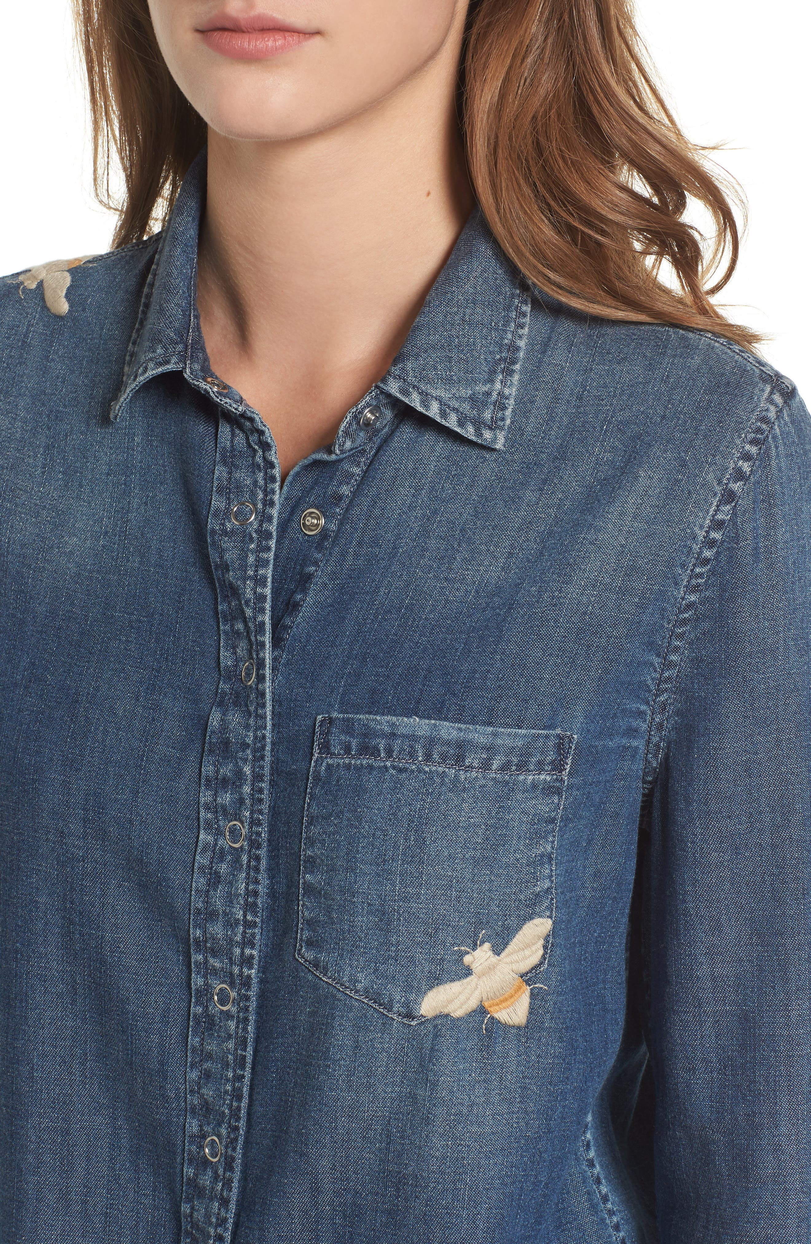 Joanna Embroidered Denim Shirt,                             Alternate thumbnail 4, color,