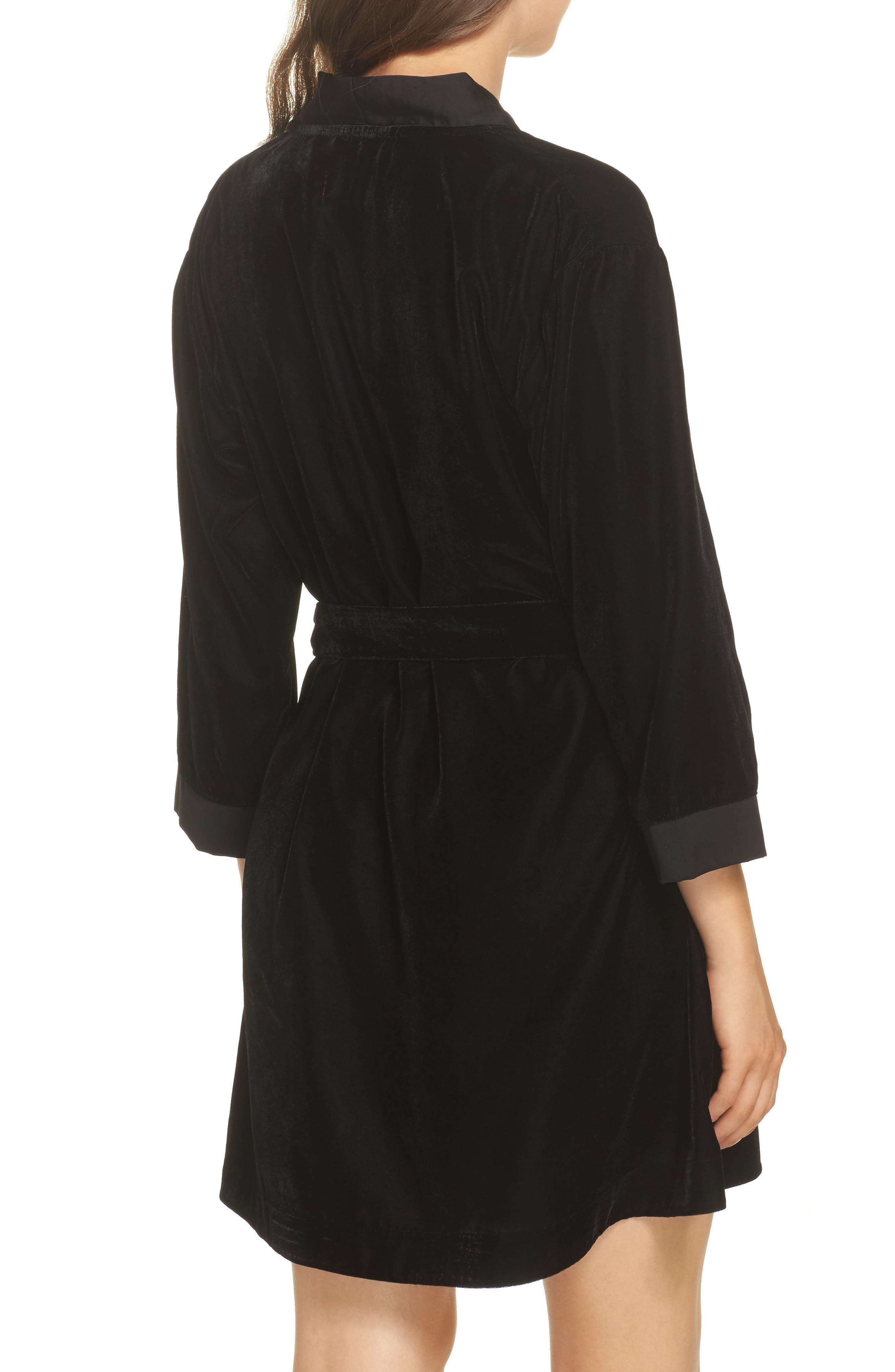 Velvet Short Robe,                             Alternate thumbnail 2, color,                             001