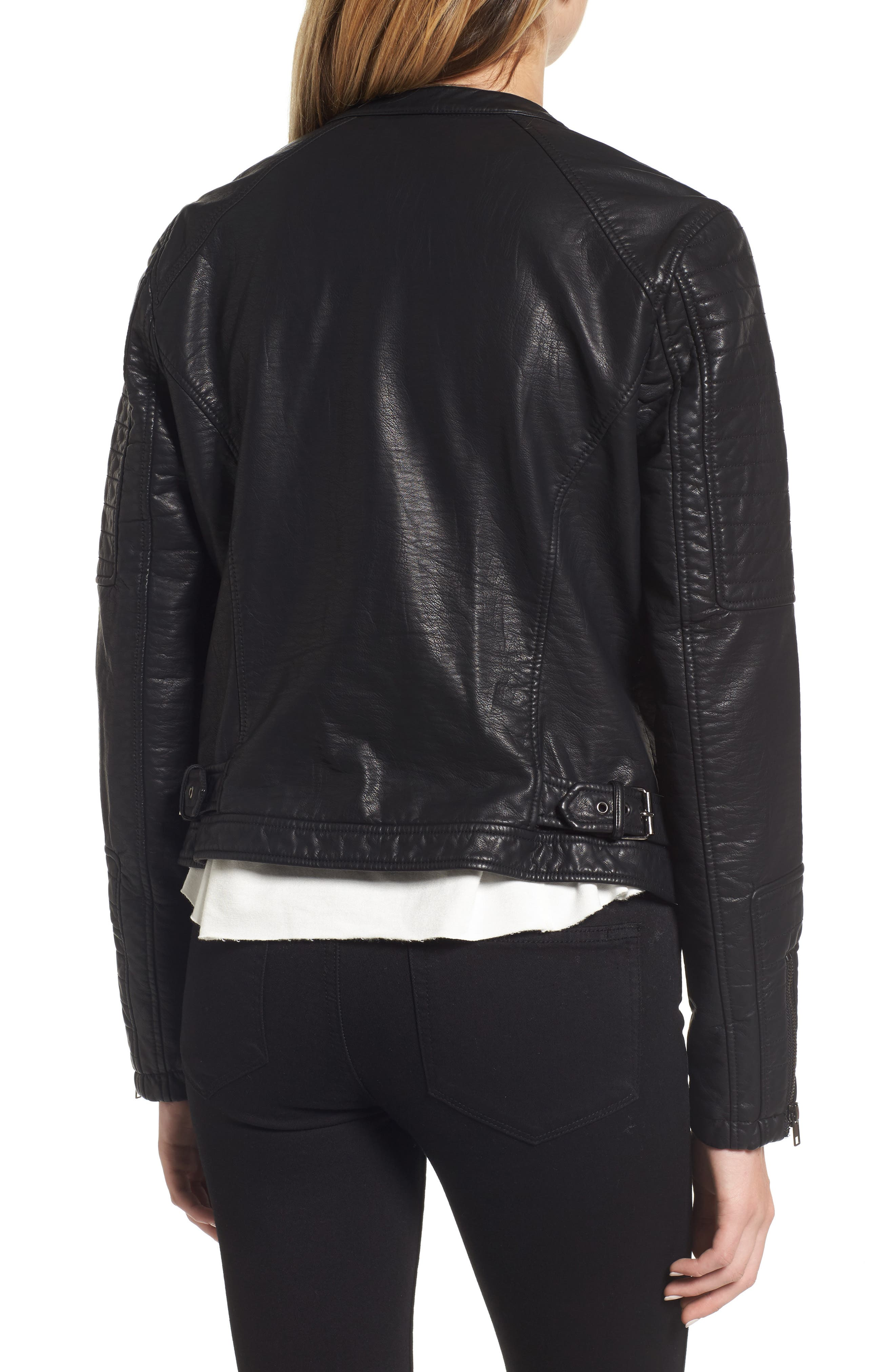 Ezmerelda Faux Leather Moto Jacket,                             Alternate thumbnail 2, color,                             001