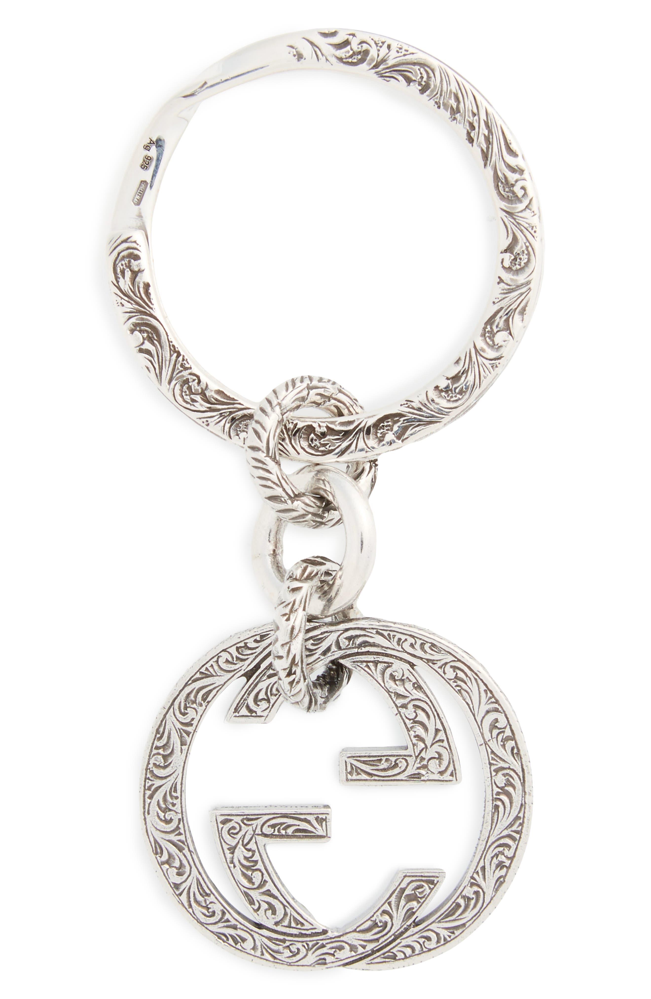 Paisley Engraved Logo Key Ring,                             Main thumbnail 1, color,                             040