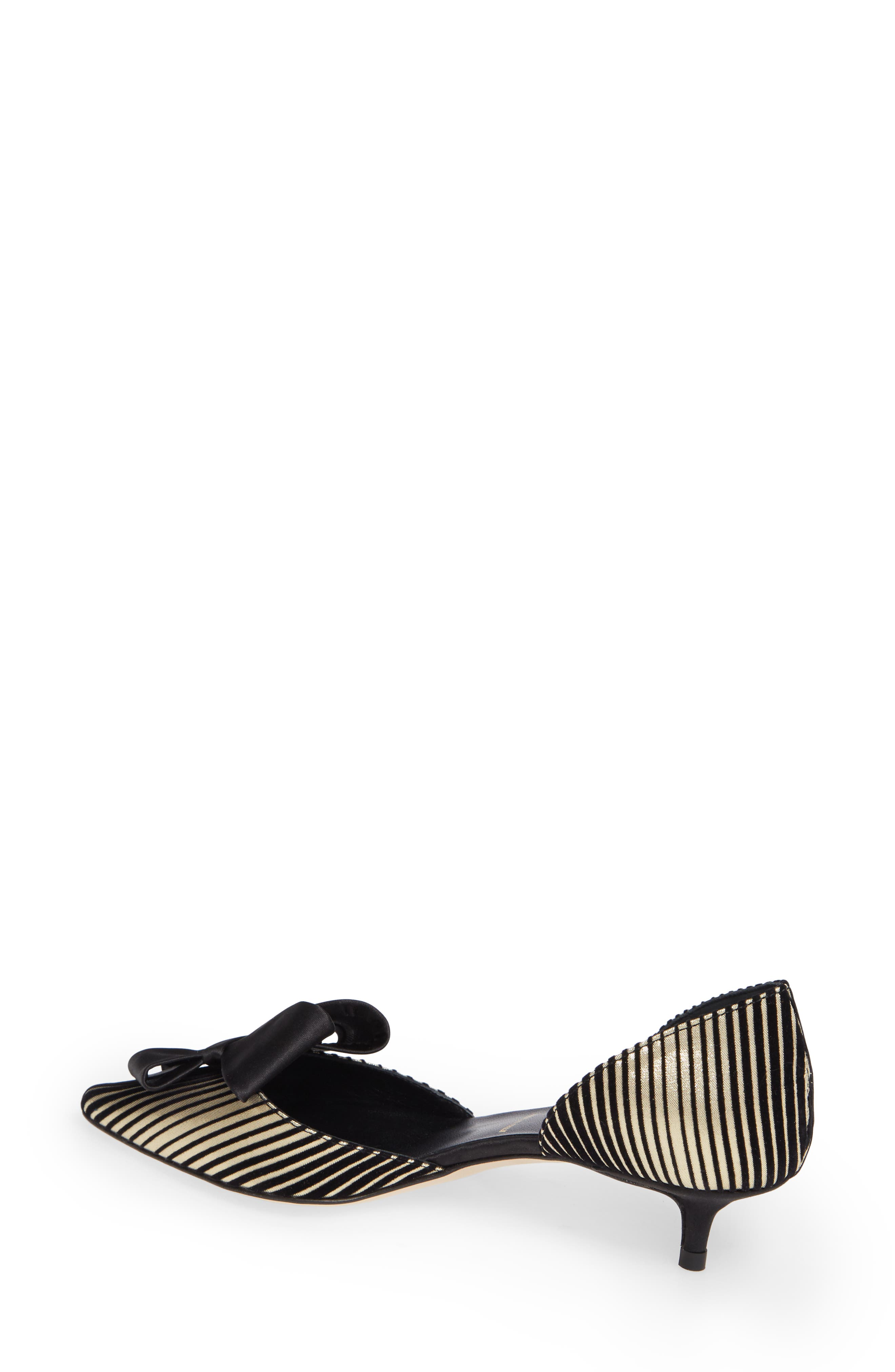 Cliff Bow d'Orsay Pump,                             Alternate thumbnail 2, color,                             PLATINUM STRIPE SATIN