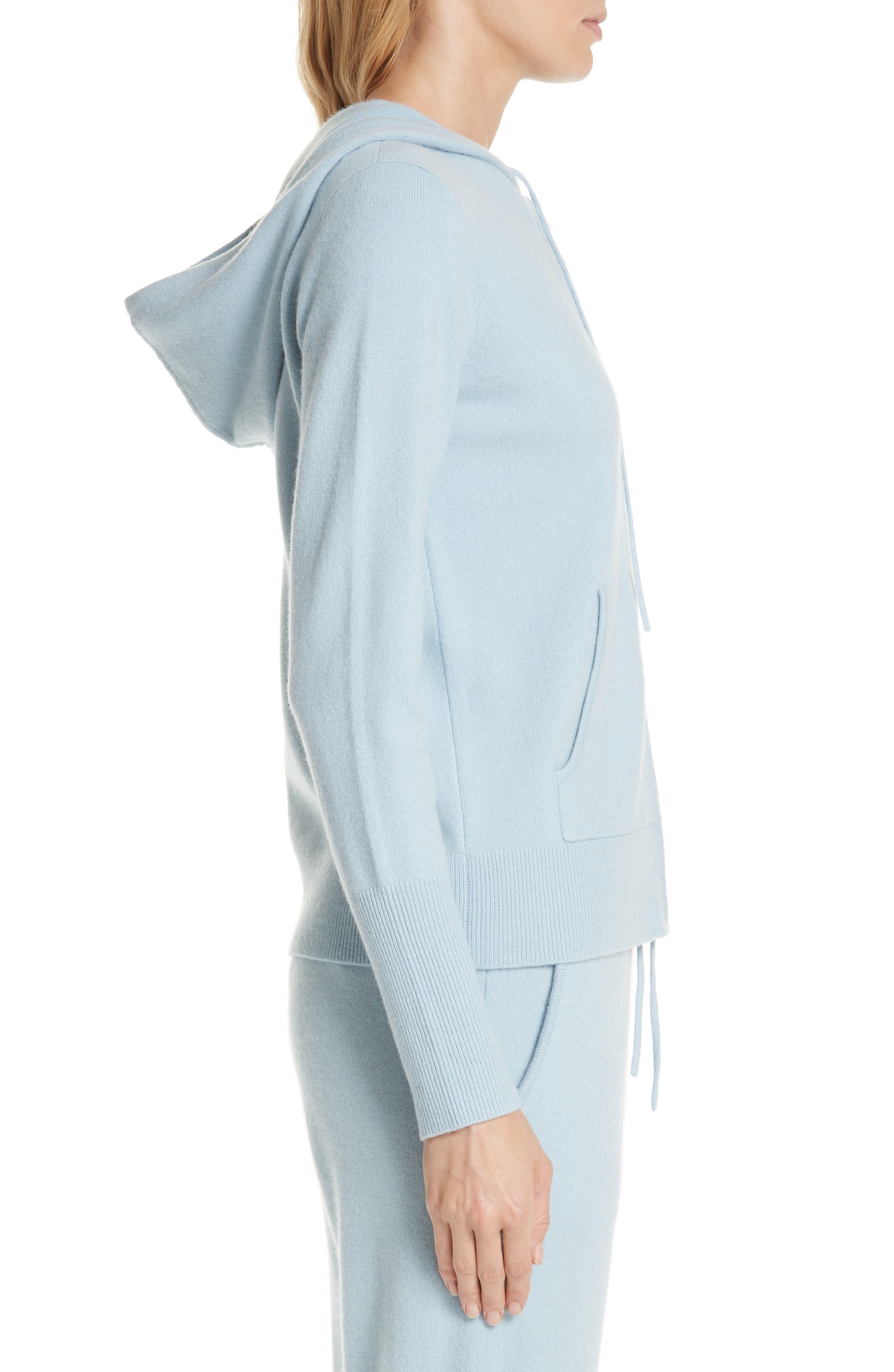 Cashmere Blend Zip Front Hoodie,                             Alternate thumbnail 3, color,                             BLUE FOG