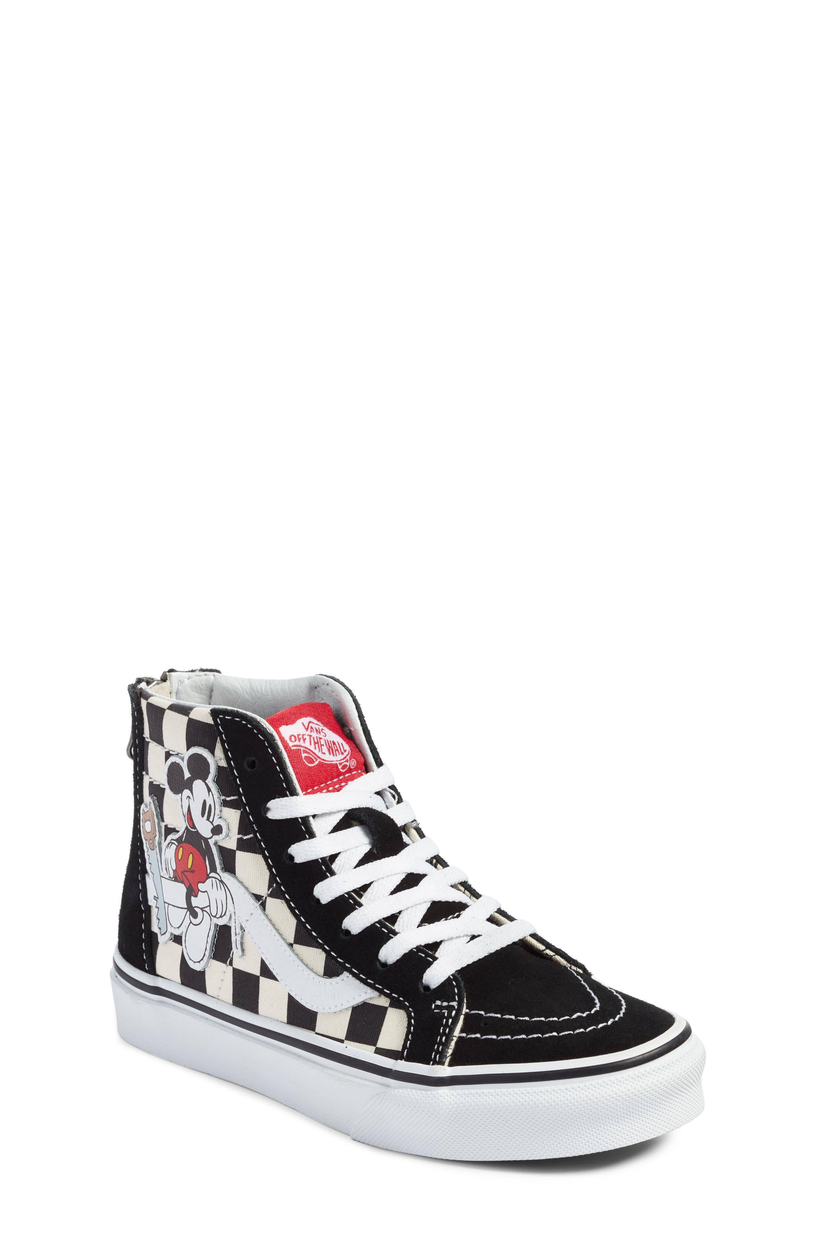 x Disney Mickey Mouse SK8-Hi Zip Sneaker,                             Main thumbnail 1, color,                             DISNEY MICKEY CHECKERBOARD