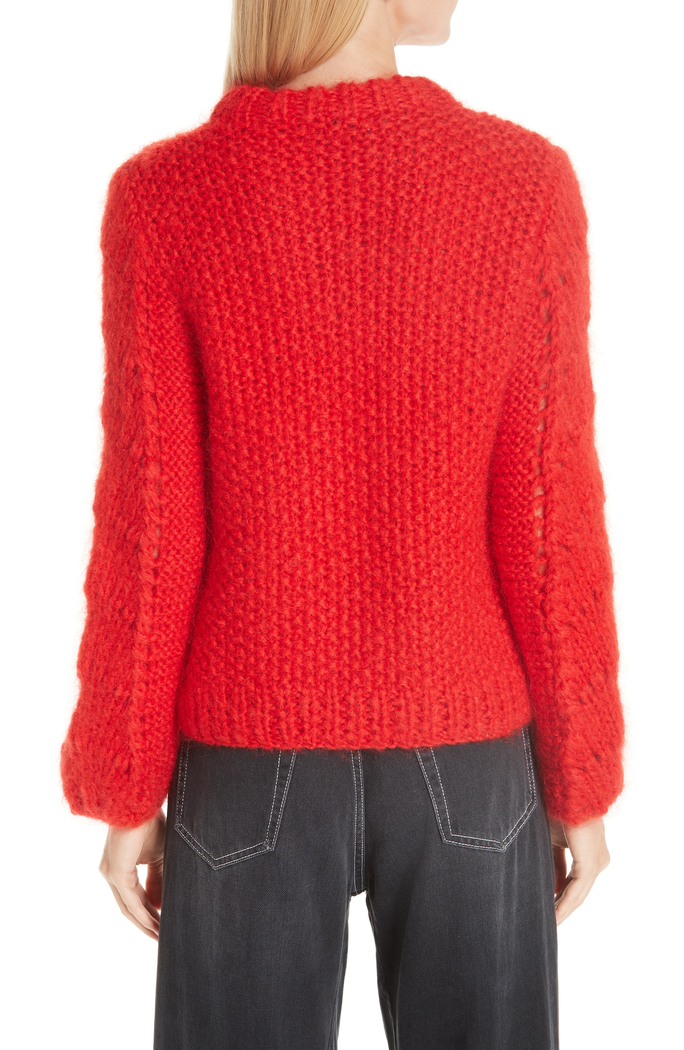 GANNI,                             Mohair & Wool Sweater,                             Alternate thumbnail 2, color,                             FIERY RED 403