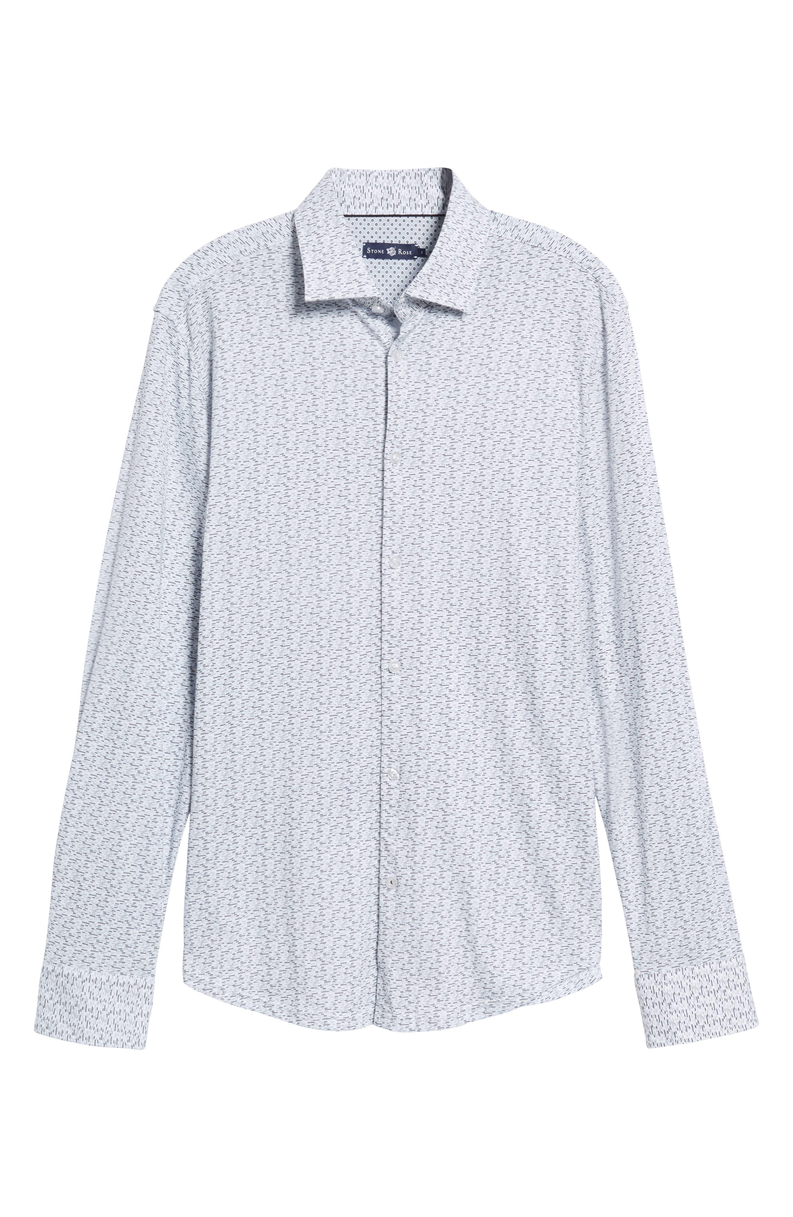 Slim Fit Print Knit Sport Shirt,                             Alternate thumbnail 6, color,                             001