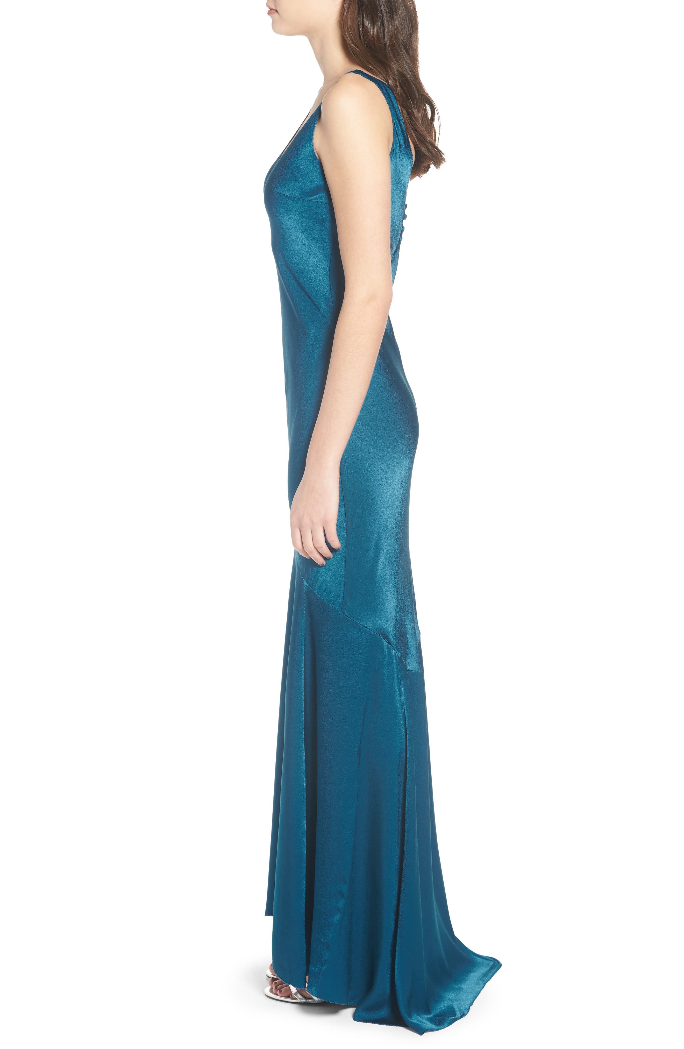 Satin Fishtail Gown,                             Alternate thumbnail 6, color,