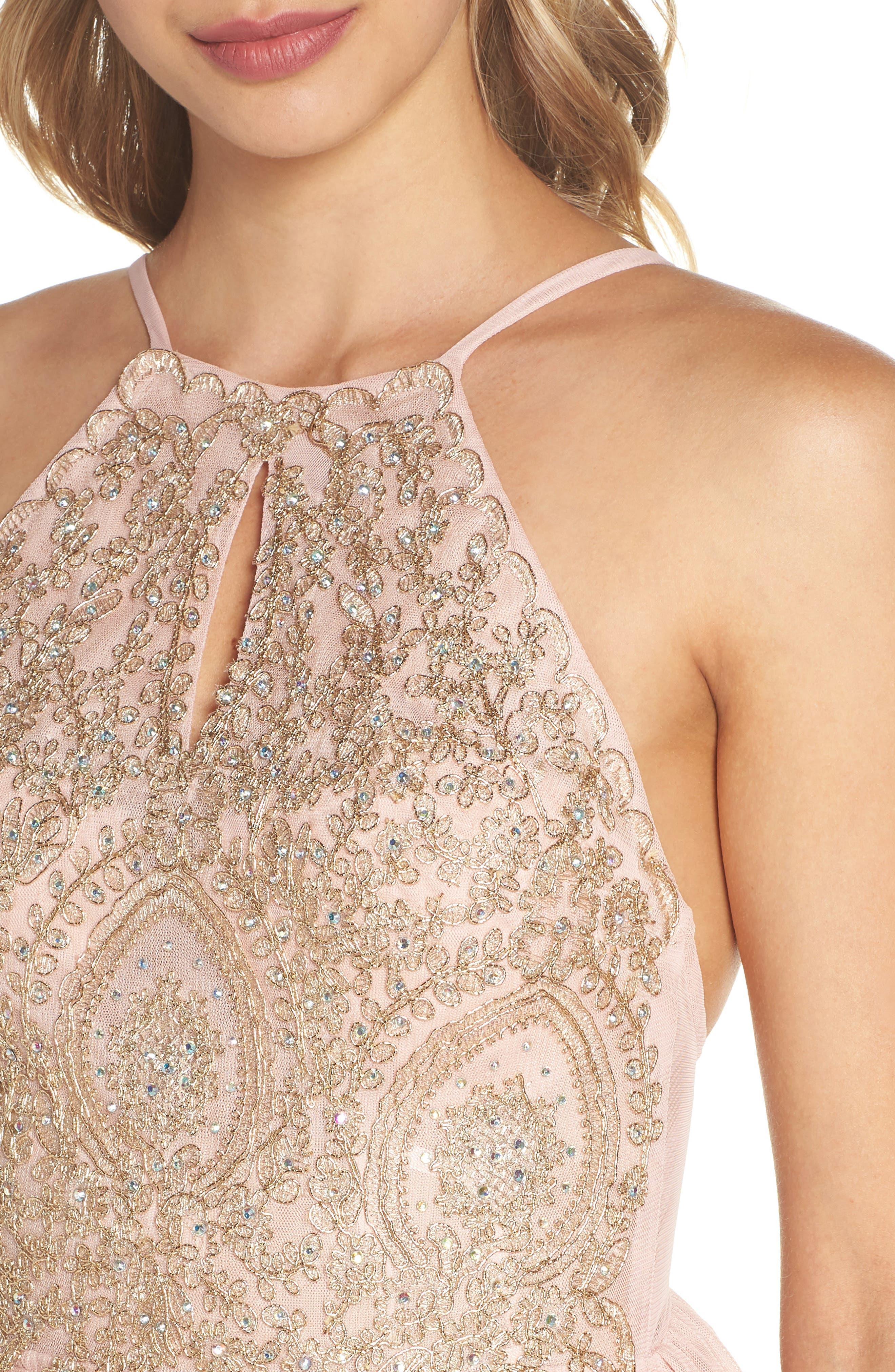 Embellished Fit & Flare Dress,                             Alternate thumbnail 4, color,