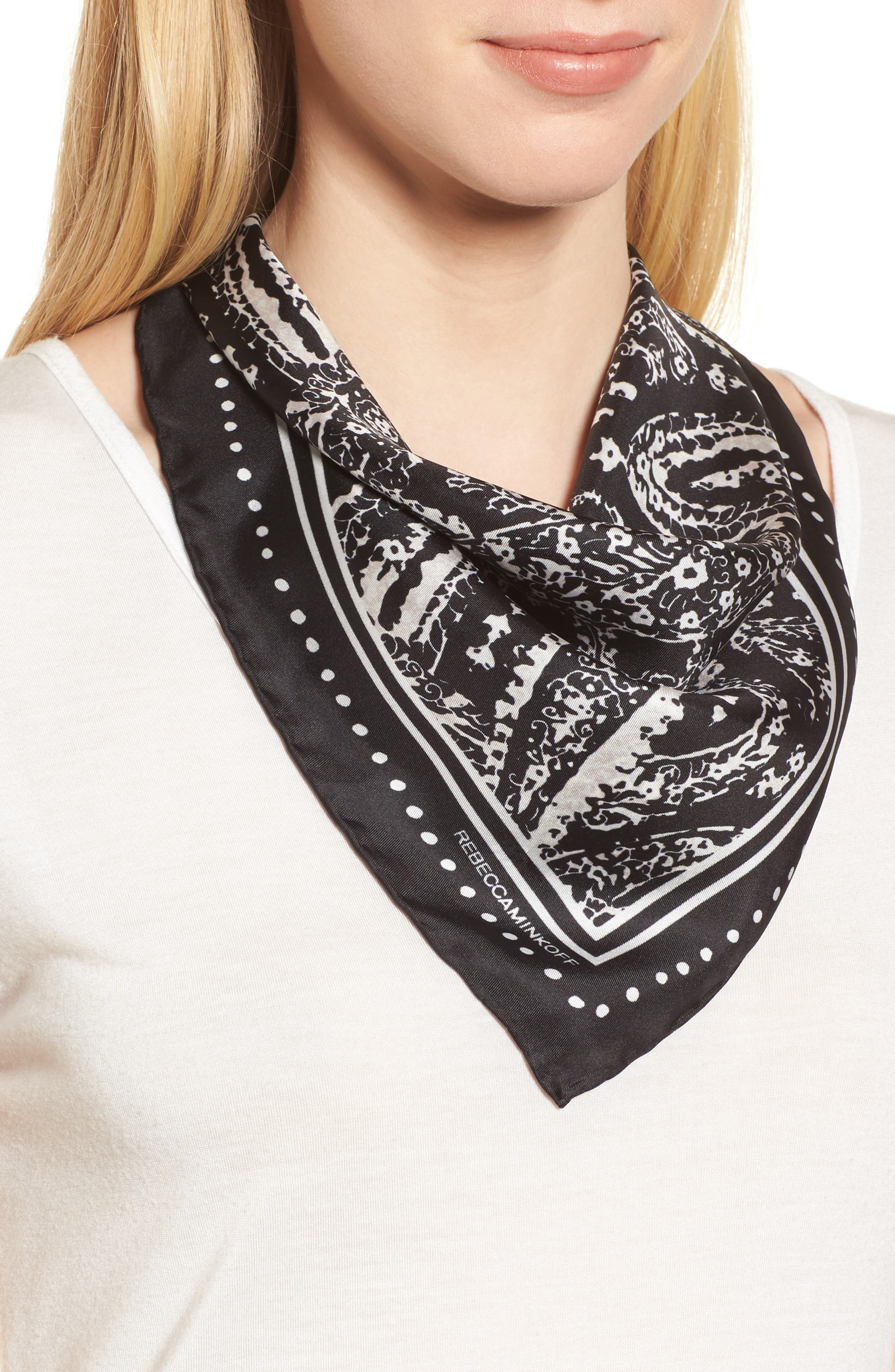 Ornament Paisley Silk Bandana,                         Main,                         color, 001