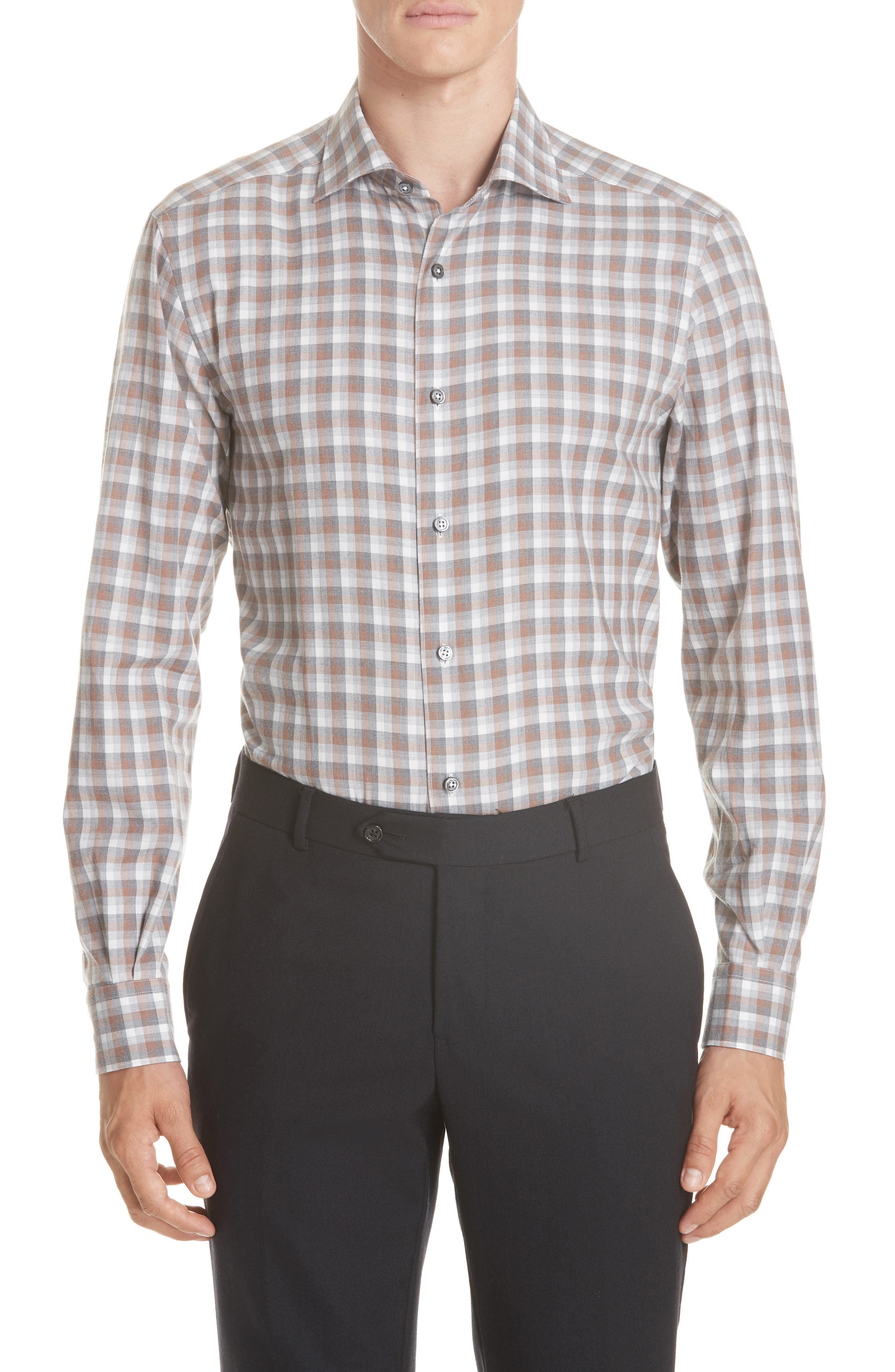 Classic Fit Check Sport Shirt,                         Main,                         color, BROWN