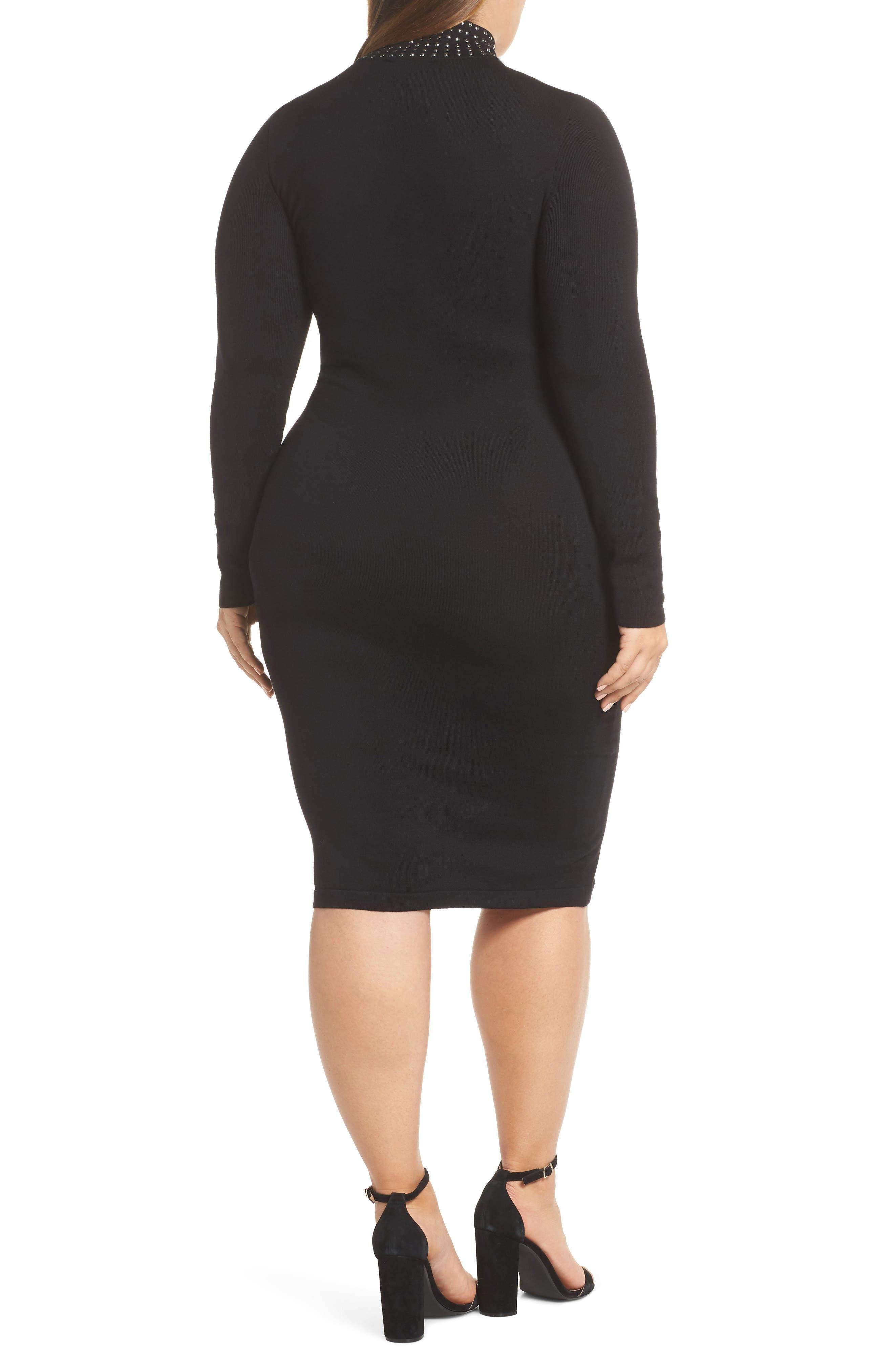 Stud Detail Body-Con Dress,                             Alternate thumbnail 2, color,                             BLACK