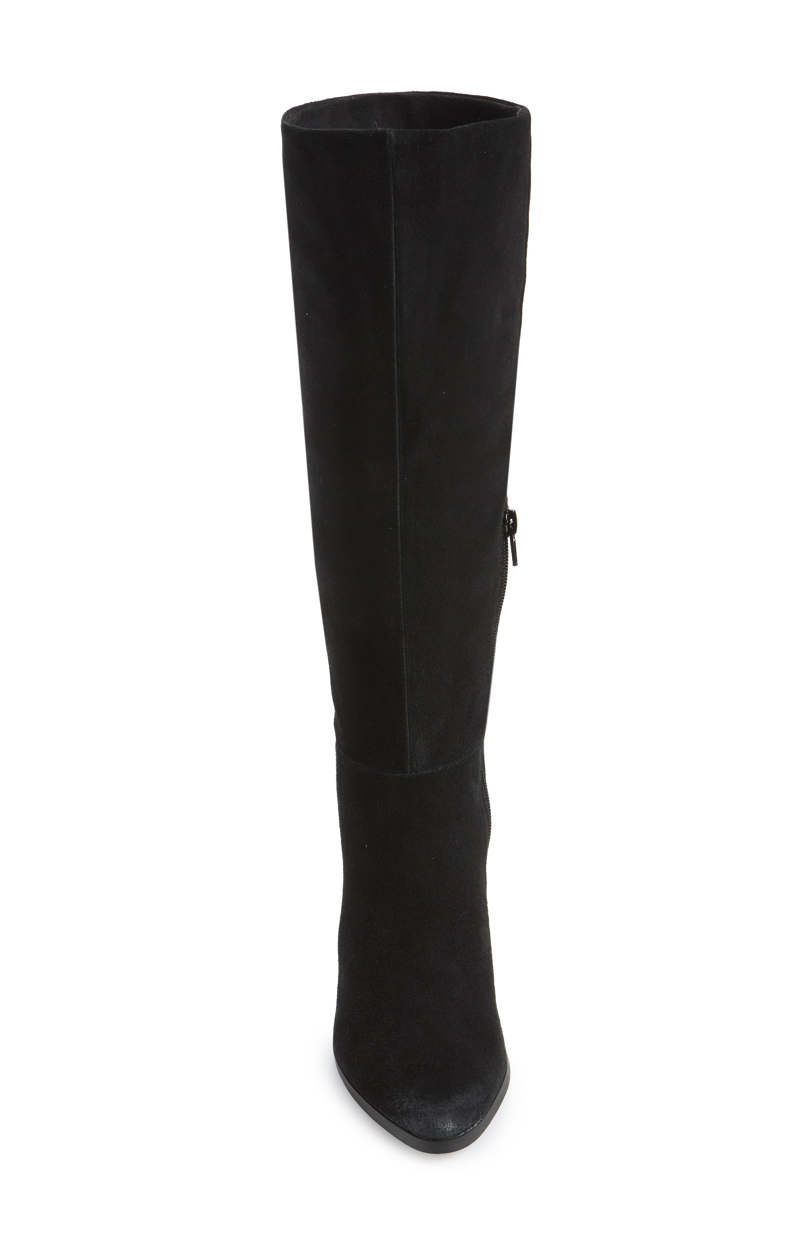 Nyles Knee High Boot,                             Alternate thumbnail 4, color,                             BLACK SUEDE