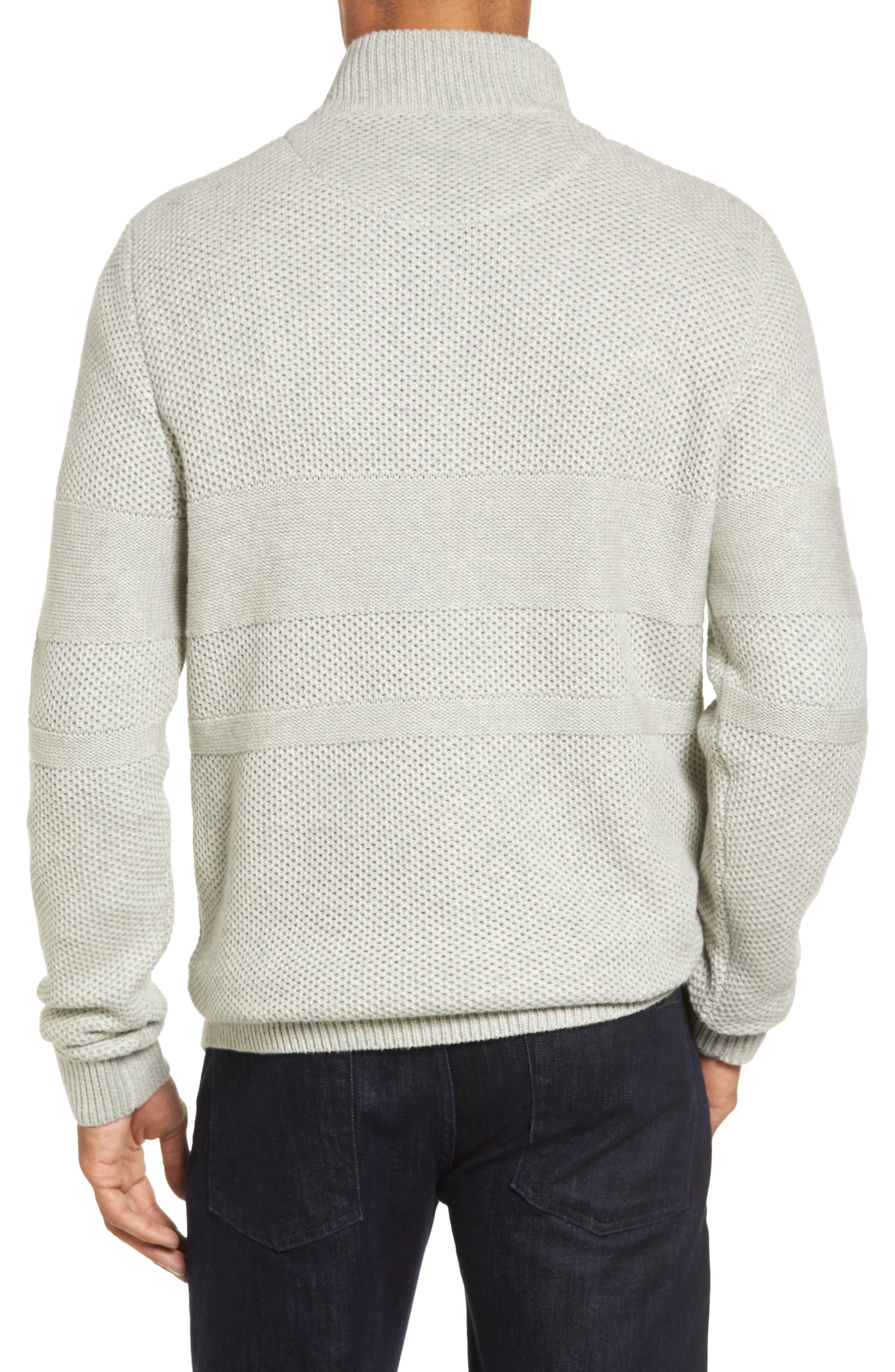 Texture Cotton & Cashmere Quarter Zip Sweater,                             Alternate thumbnail 3, color,                             050