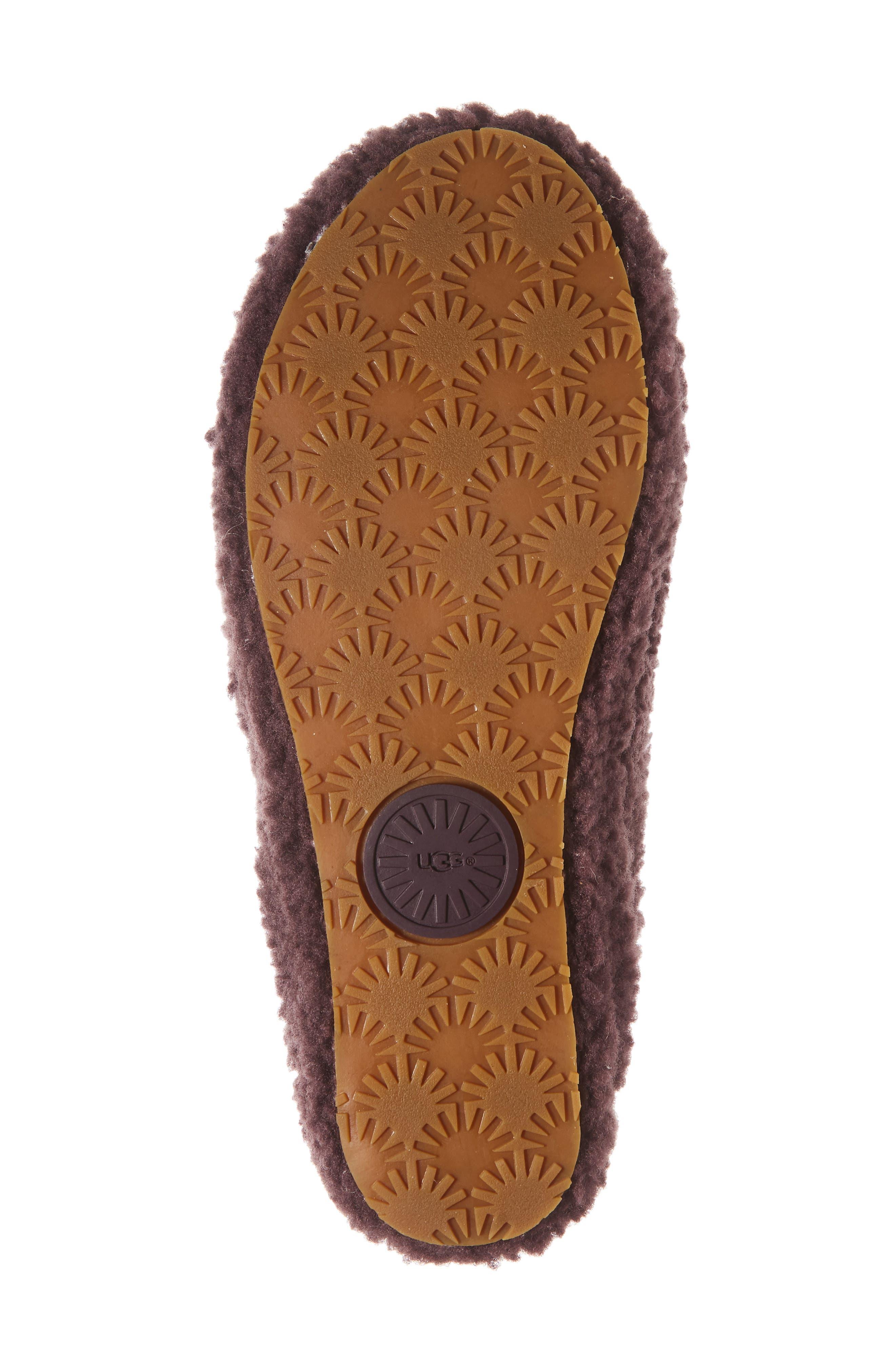 Addison Velvet Bow Genuine Shearling Slipper,                             Alternate thumbnail 6, color,                             PORT