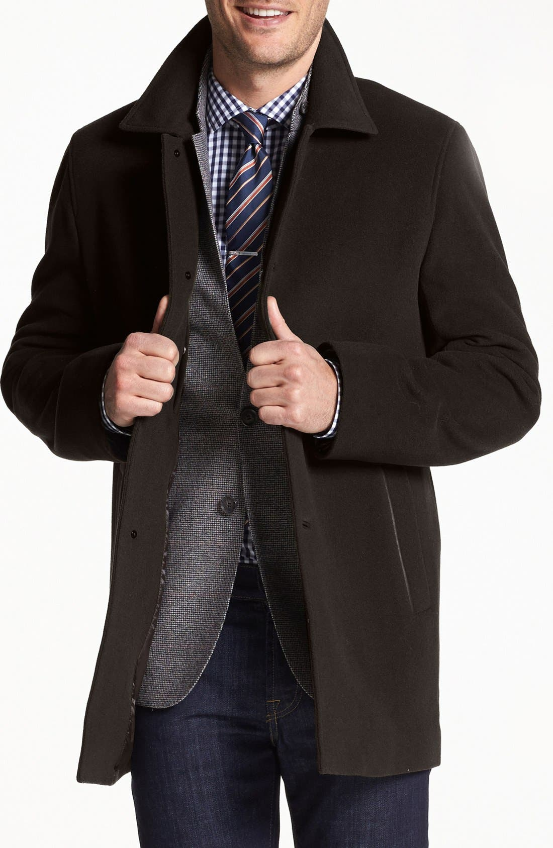 Italian Wool Blend Overcoat,                             Main thumbnail 4, color,