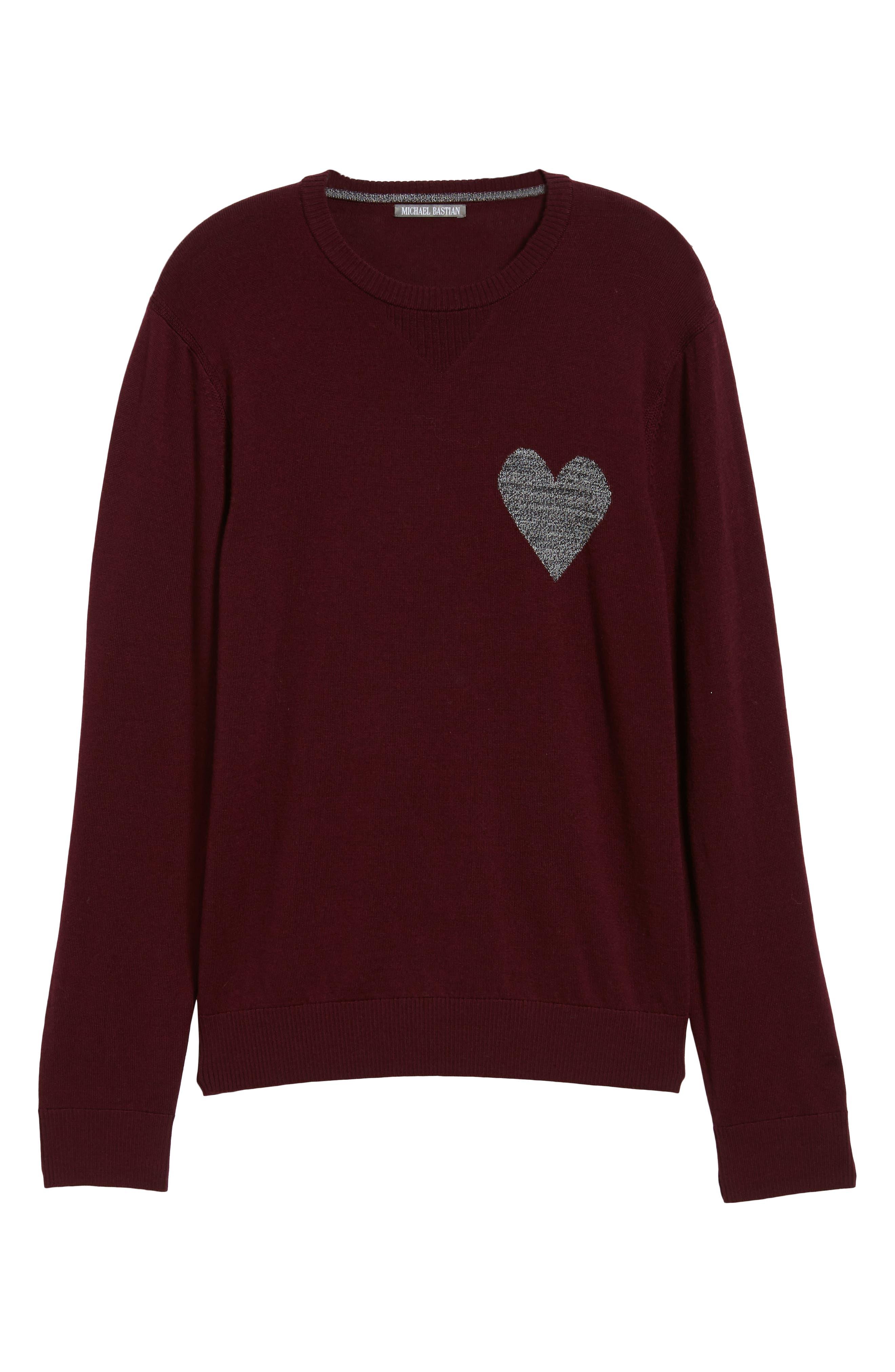 Heart Intarsia Regular Fit Merino Wool Sweater,                             Alternate thumbnail 6, color,                             BEETROOT