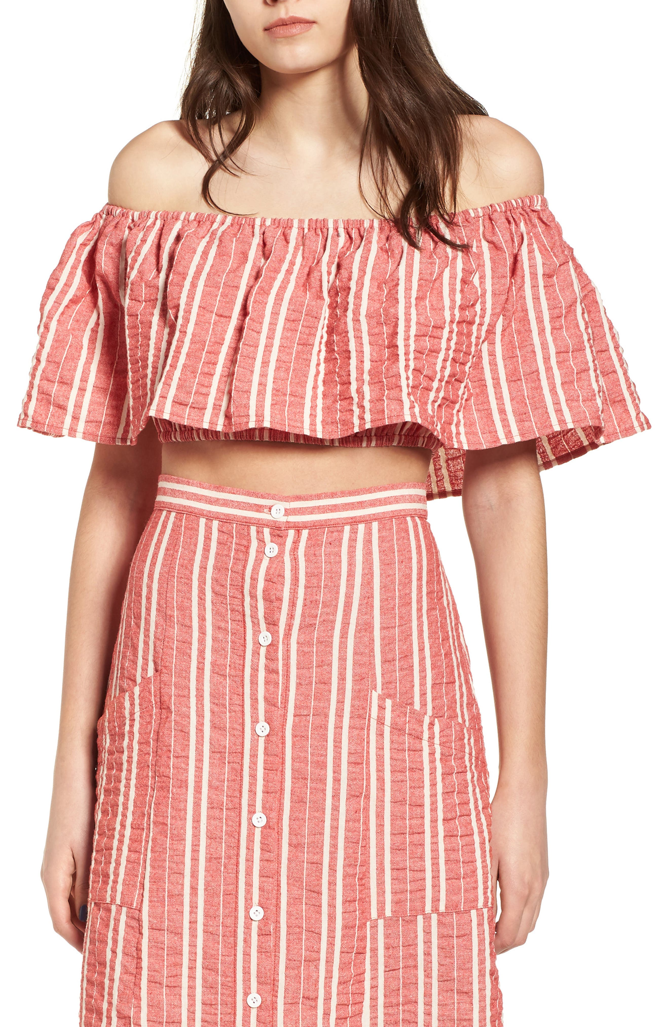 LOST + WANDER,                             Robin Popover Off the Shoulder Top,                             Main thumbnail 1, color,                             641
