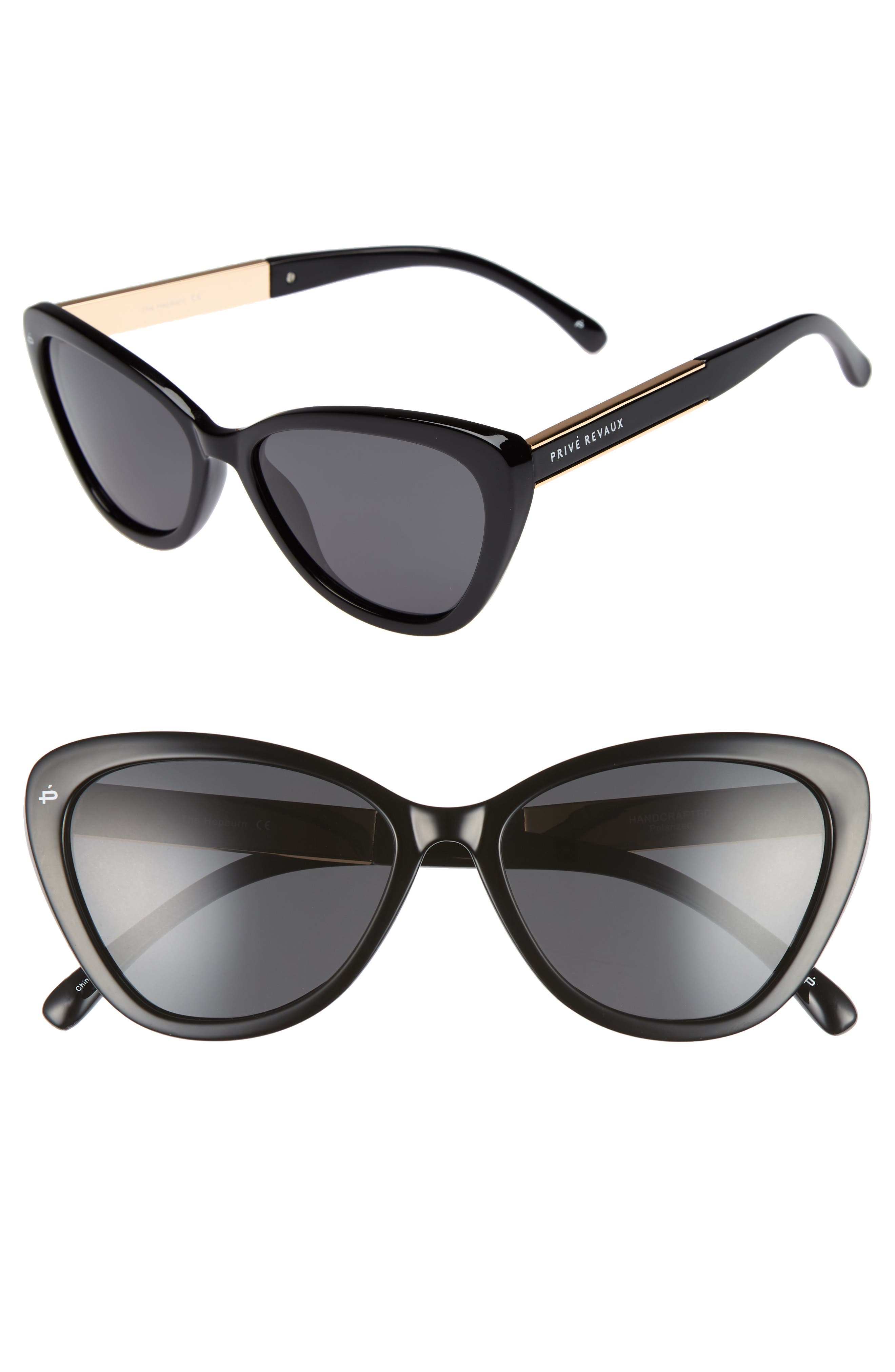 Privé Revaux The Hepburn 56mm Cat Eye Sunglasses,                             Main thumbnail 1, color,                             BLACK