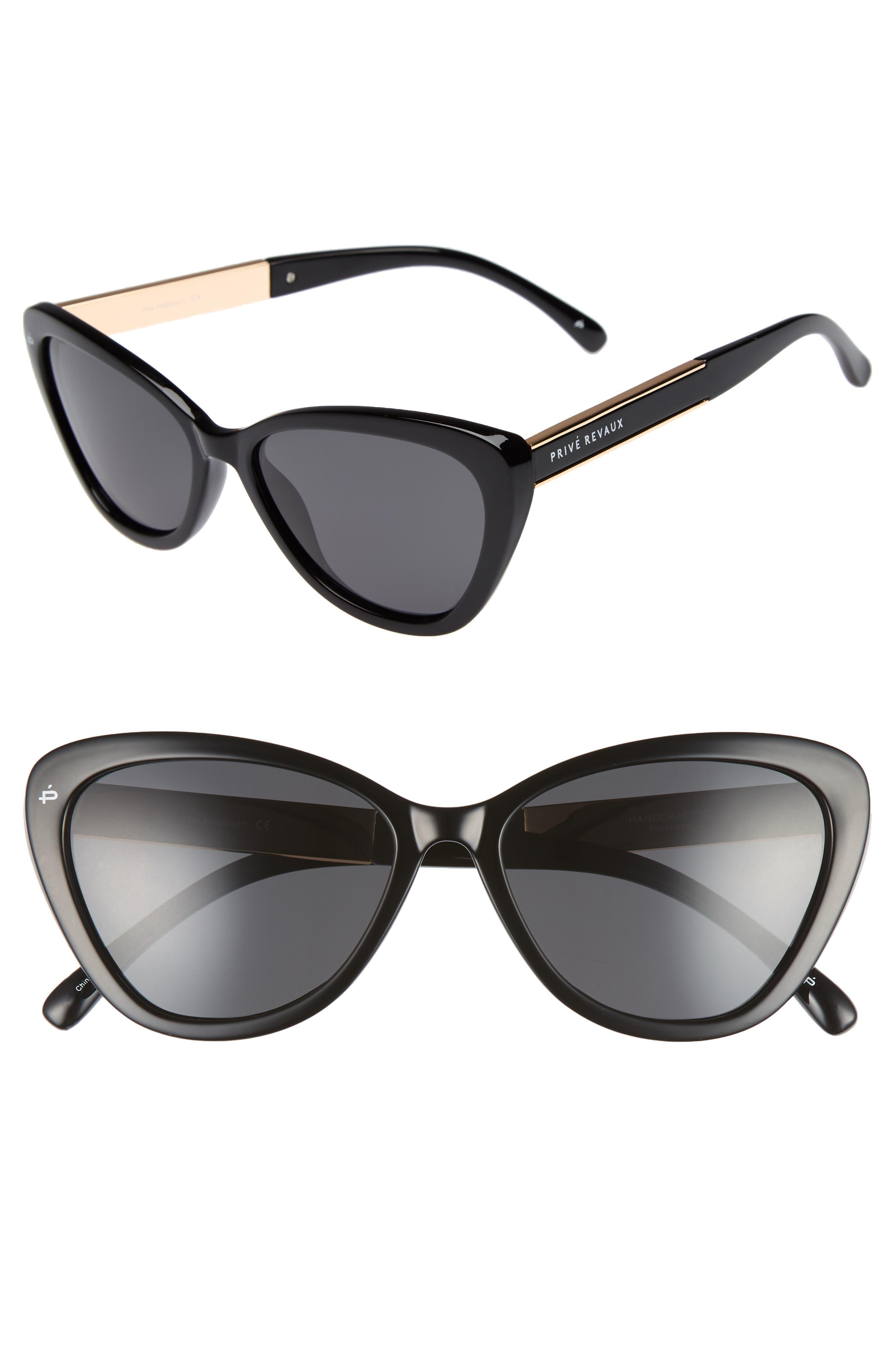 Privé Revaux The Hepburn 56mm Cat Eye Sunglasses,                         Main,                         color, 001