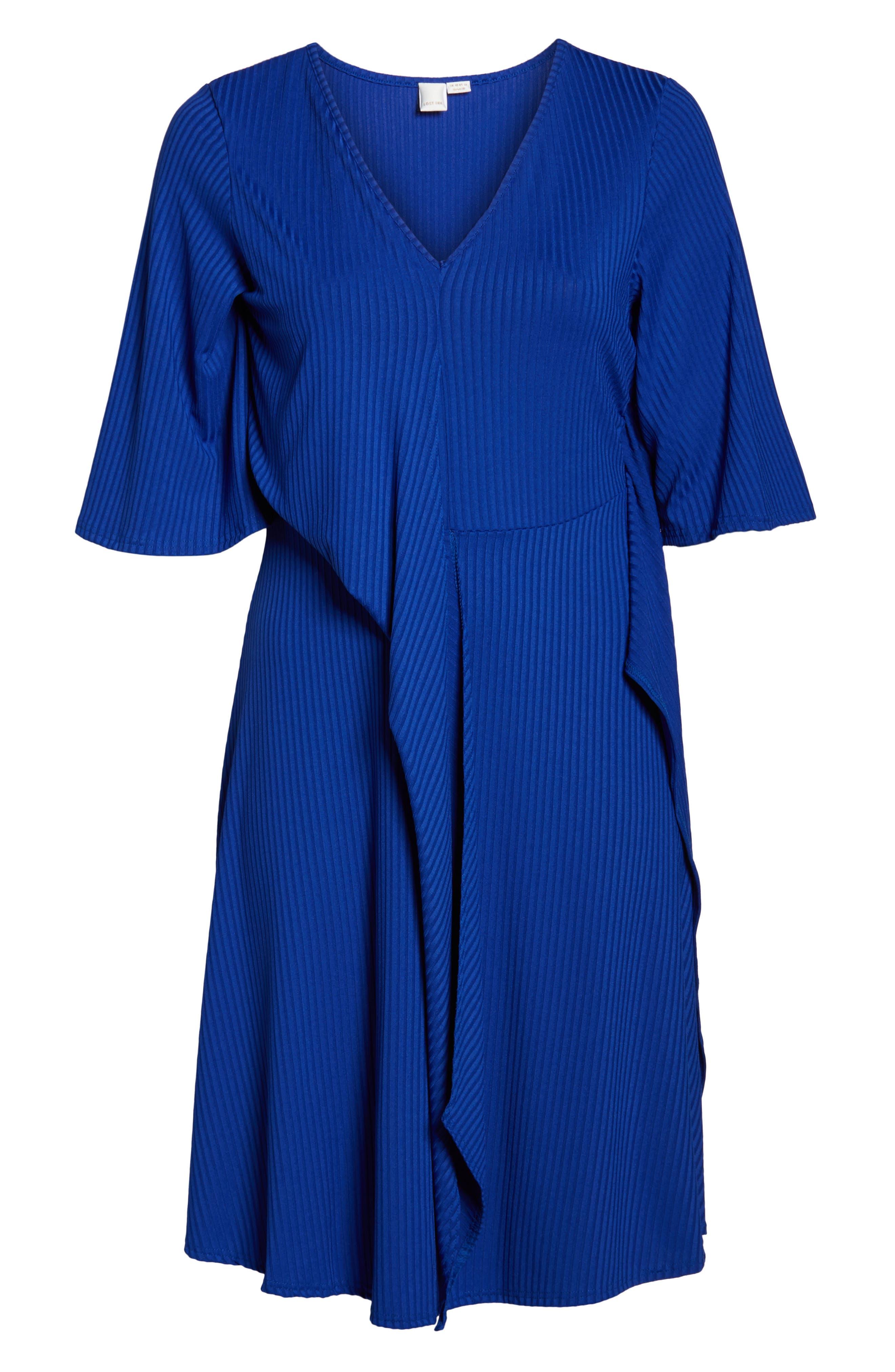 Ribbed Knit Skater Dress,                             Alternate thumbnail 7, color,                             BLUE