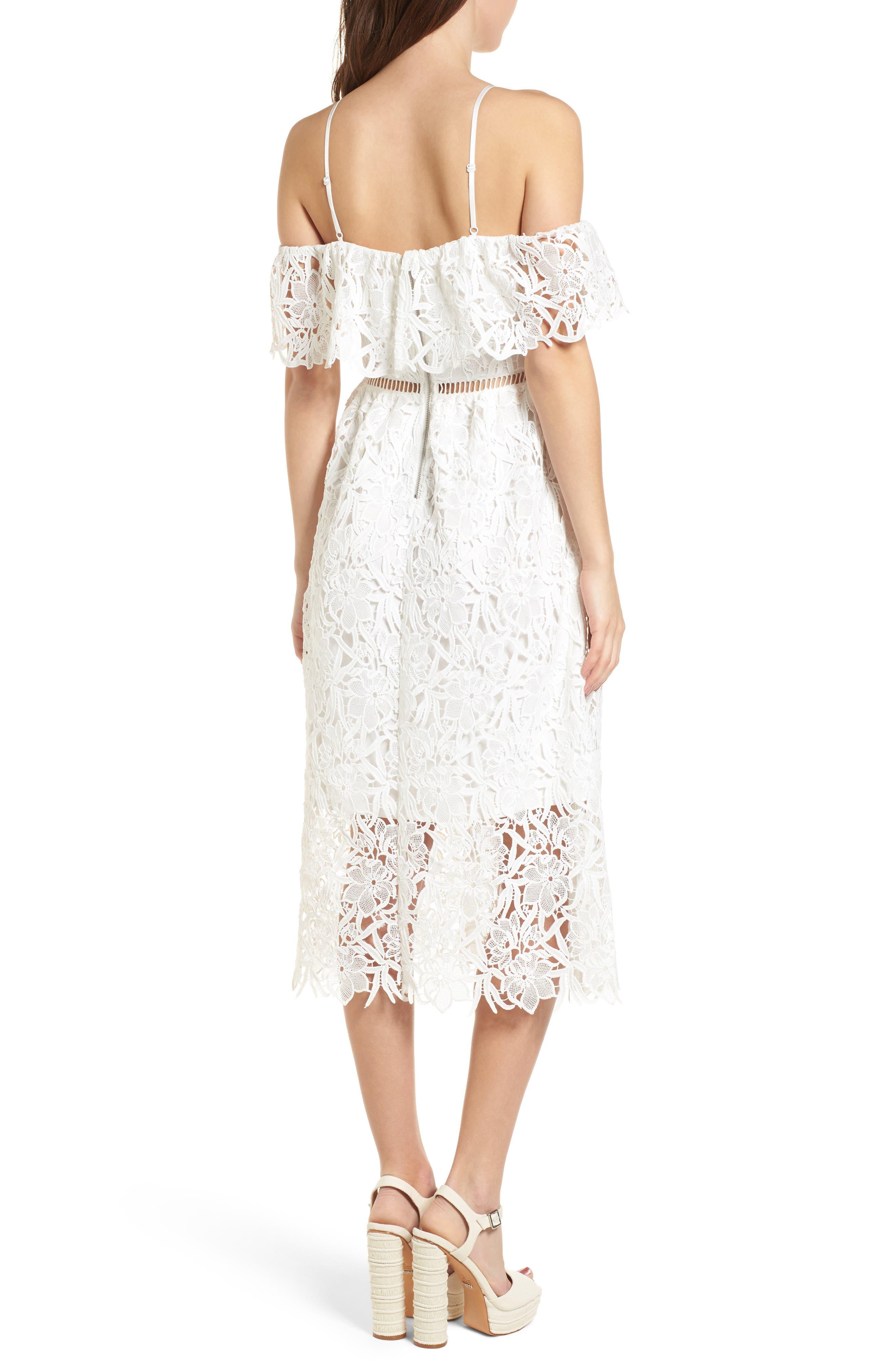 Lace Off the Shoulder Midi Dress,                             Alternate thumbnail 2, color,                             100
