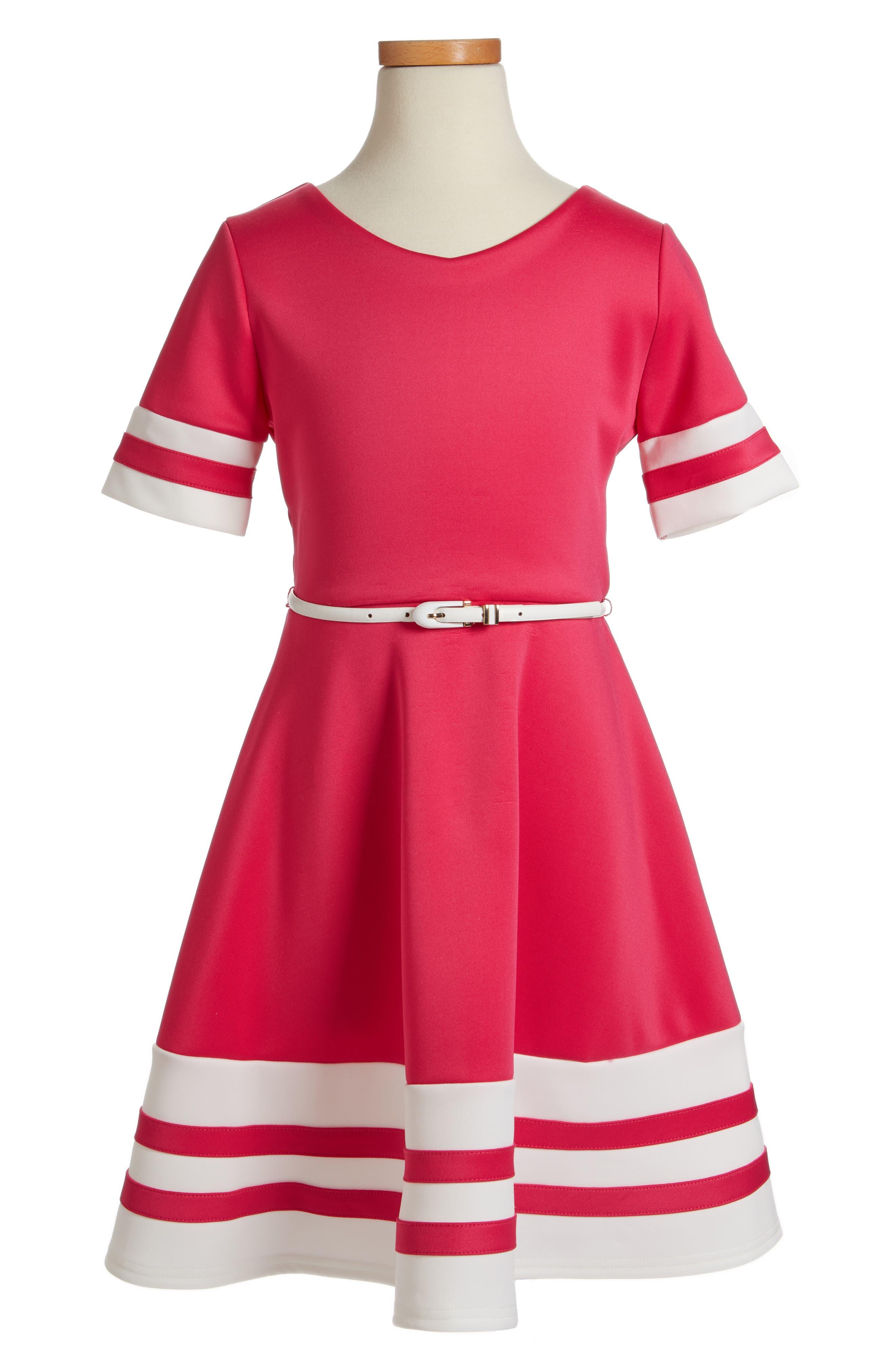 Scuba Fit & Flare Dress,                             Main thumbnail 1, color,                             652