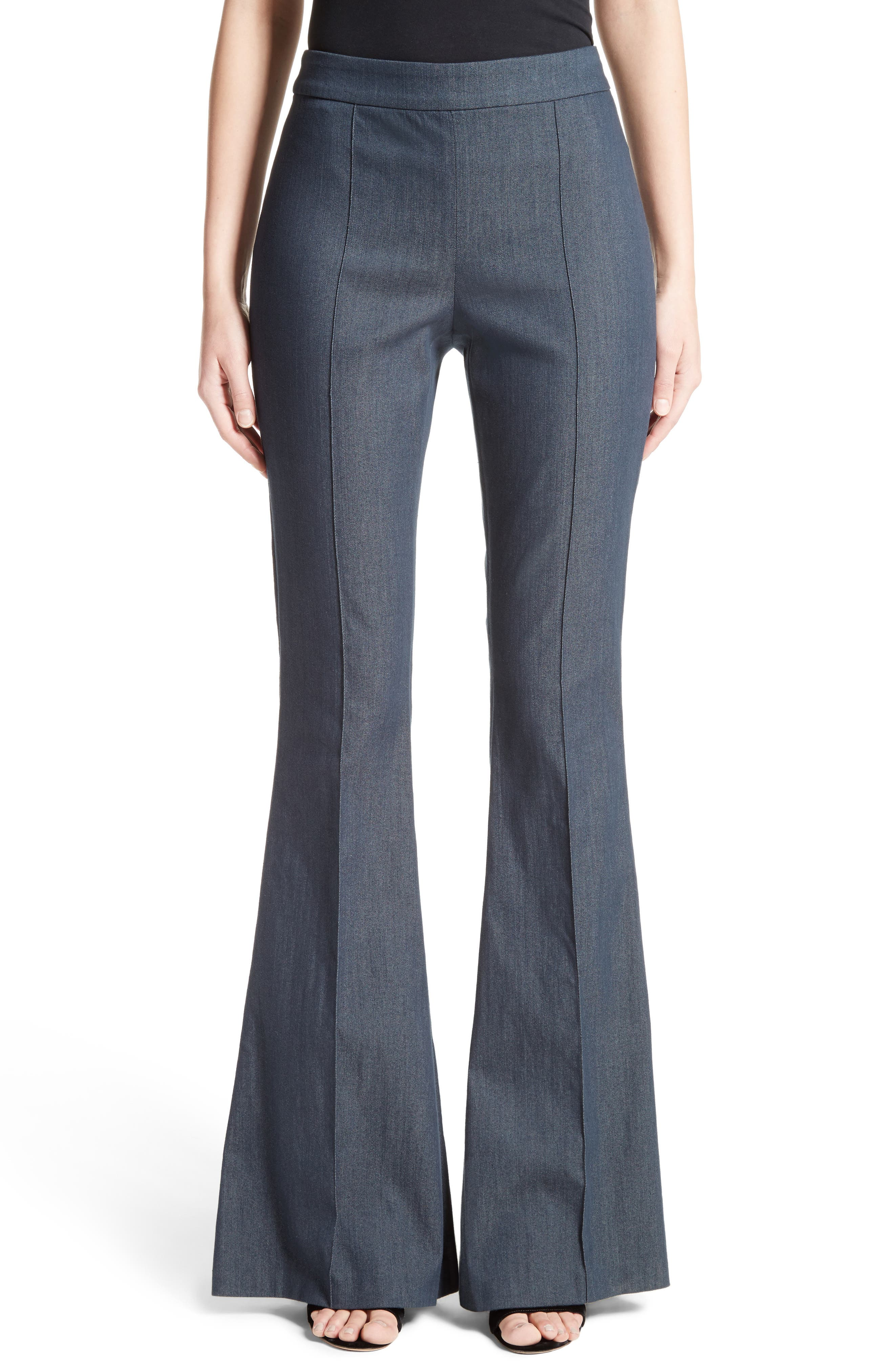 Stretch Denim Flare Pants,                             Main thumbnail 1, color,                             400