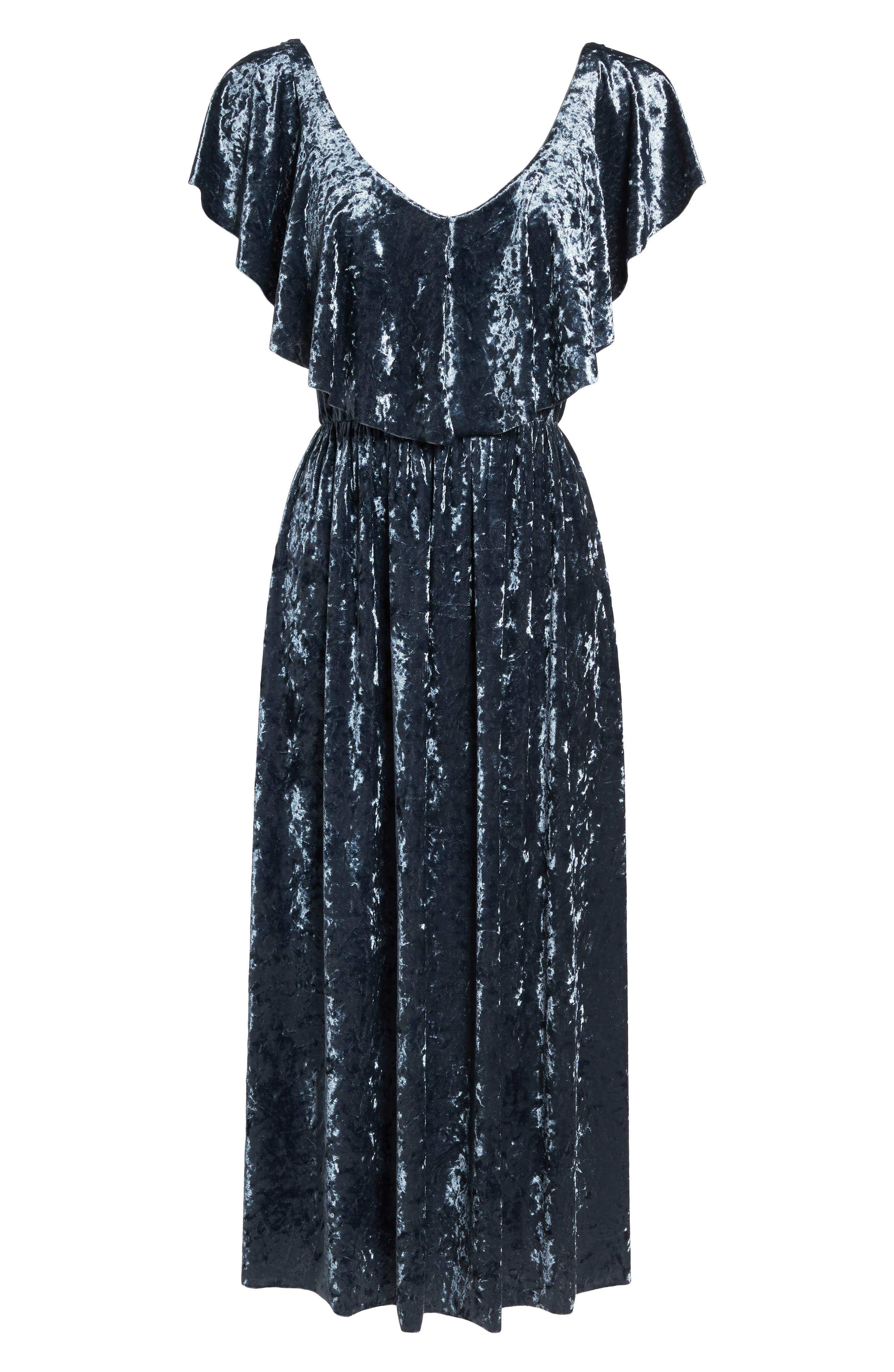 Crushed Velvet Midi Dress,                             Alternate thumbnail 6, color,                             405
