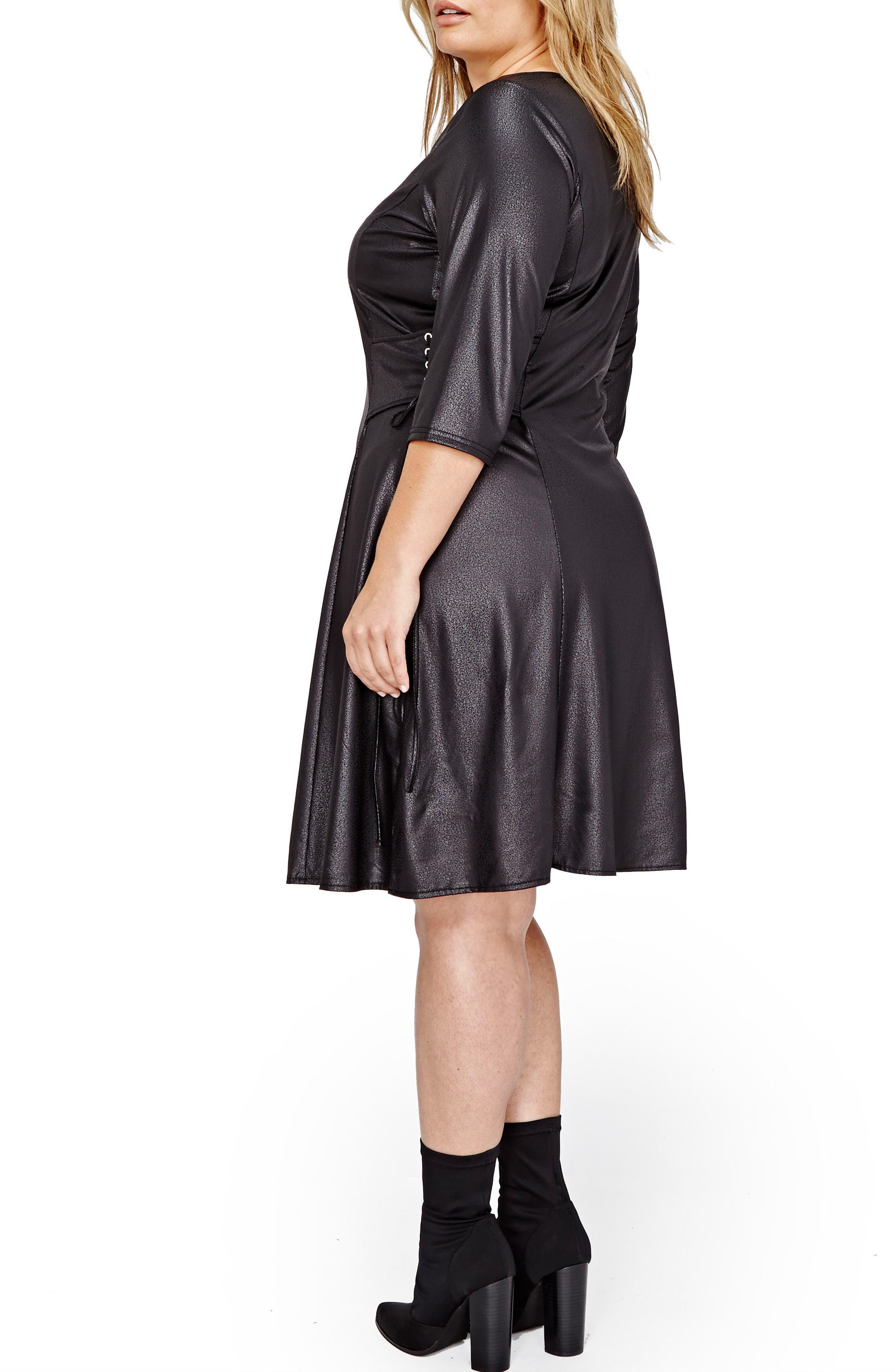 Lace-Up Swing Dress,                             Alternate thumbnail 2, color,                             001