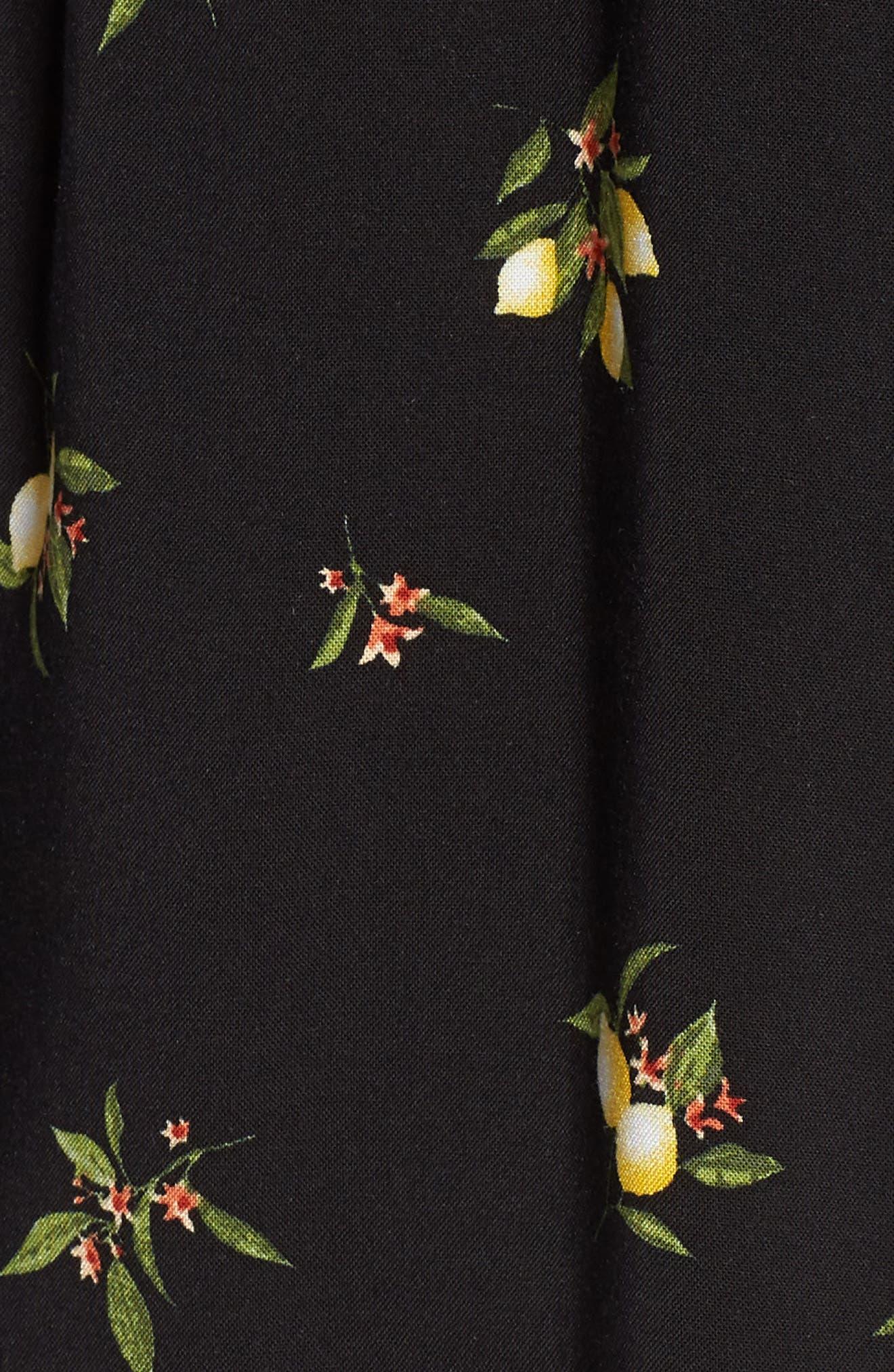 Lemon Print Off the Shoulder Top,                             Alternate thumbnail 6, color,                             001