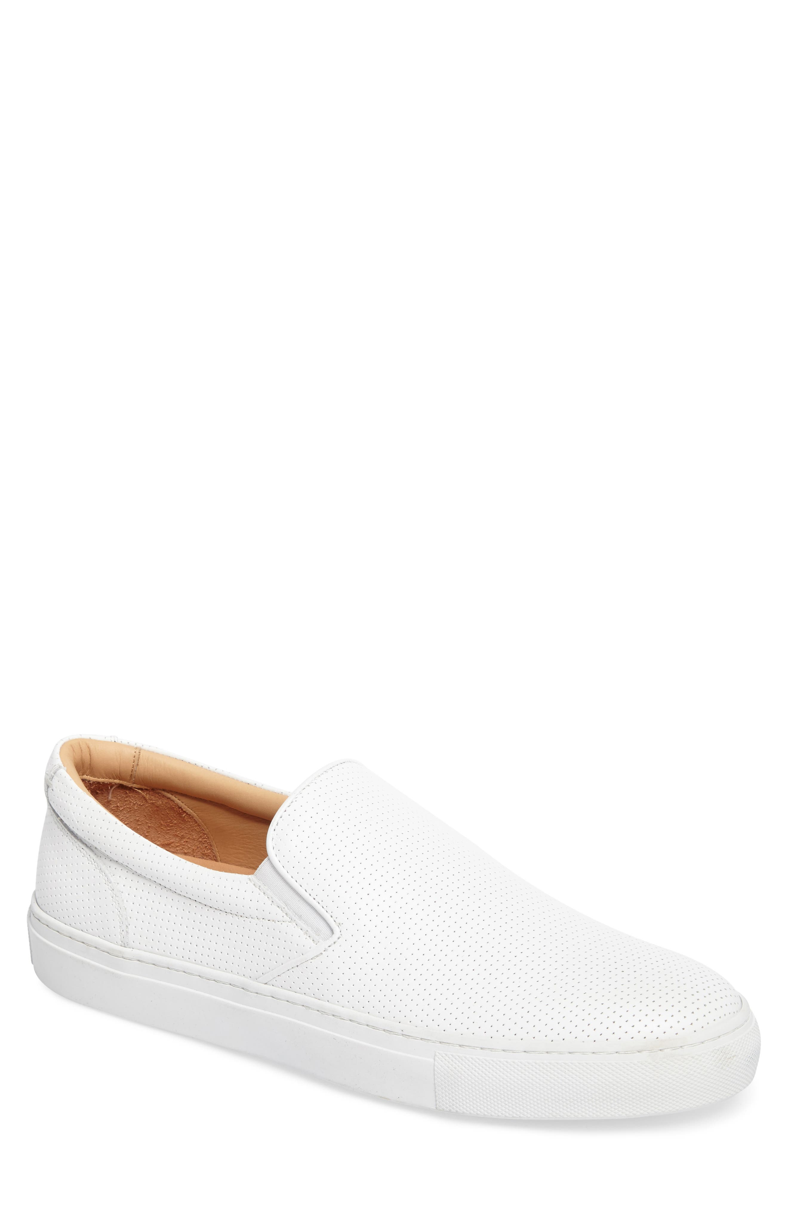 Wooster Slip-On Sneaker,                             Main thumbnail 1, color,                             WHITE PERFORATED LEATHER