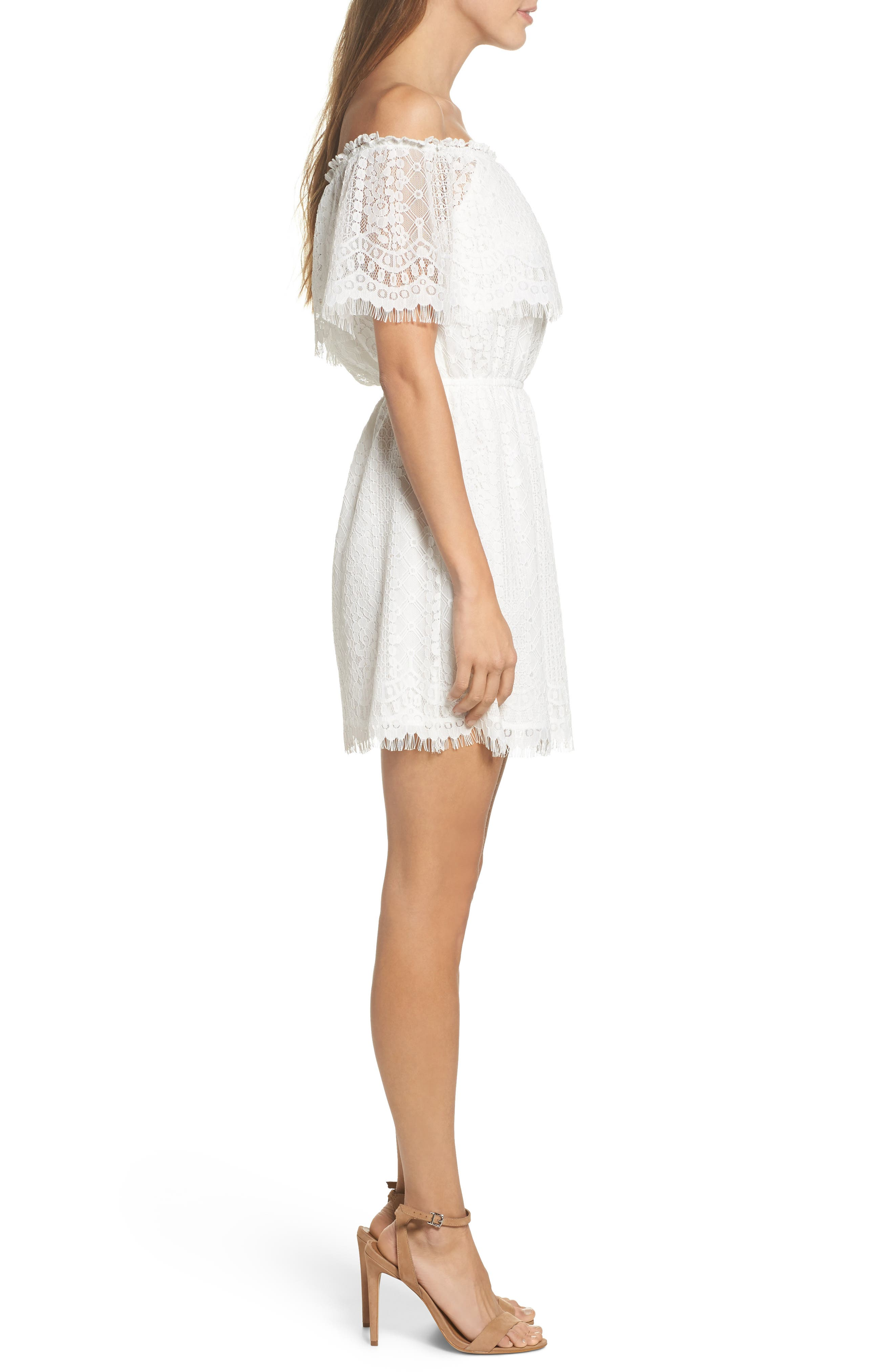 Zinnia Lace Ruffle Off the Shoulder Dress,                             Alternate thumbnail 3, color,                             110