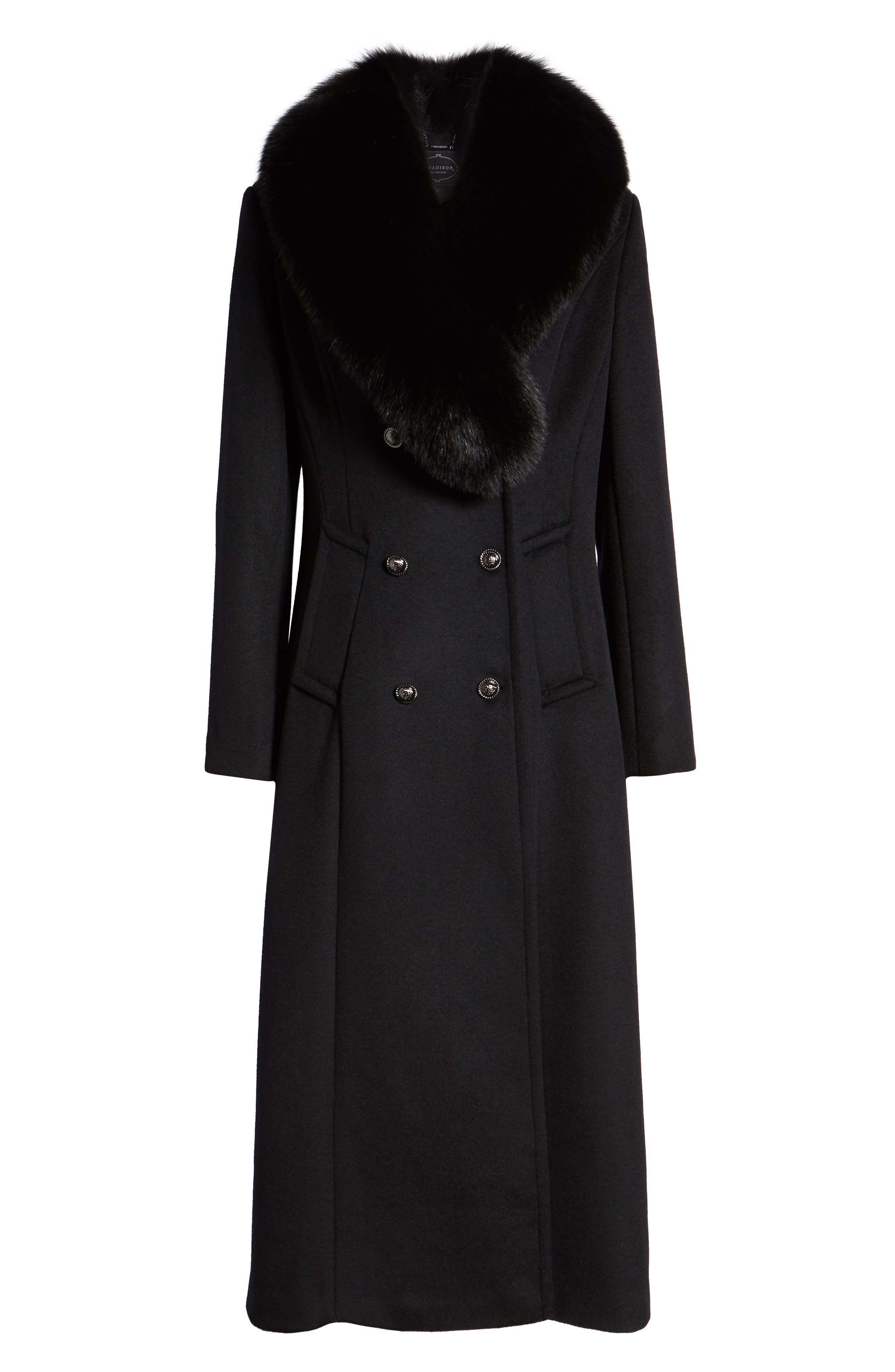 1 MADISON,                             Double Breasted Military Wool Coat with Genuine Fox Fur Shawl,                             Alternate thumbnail 6, color,                             BLACK