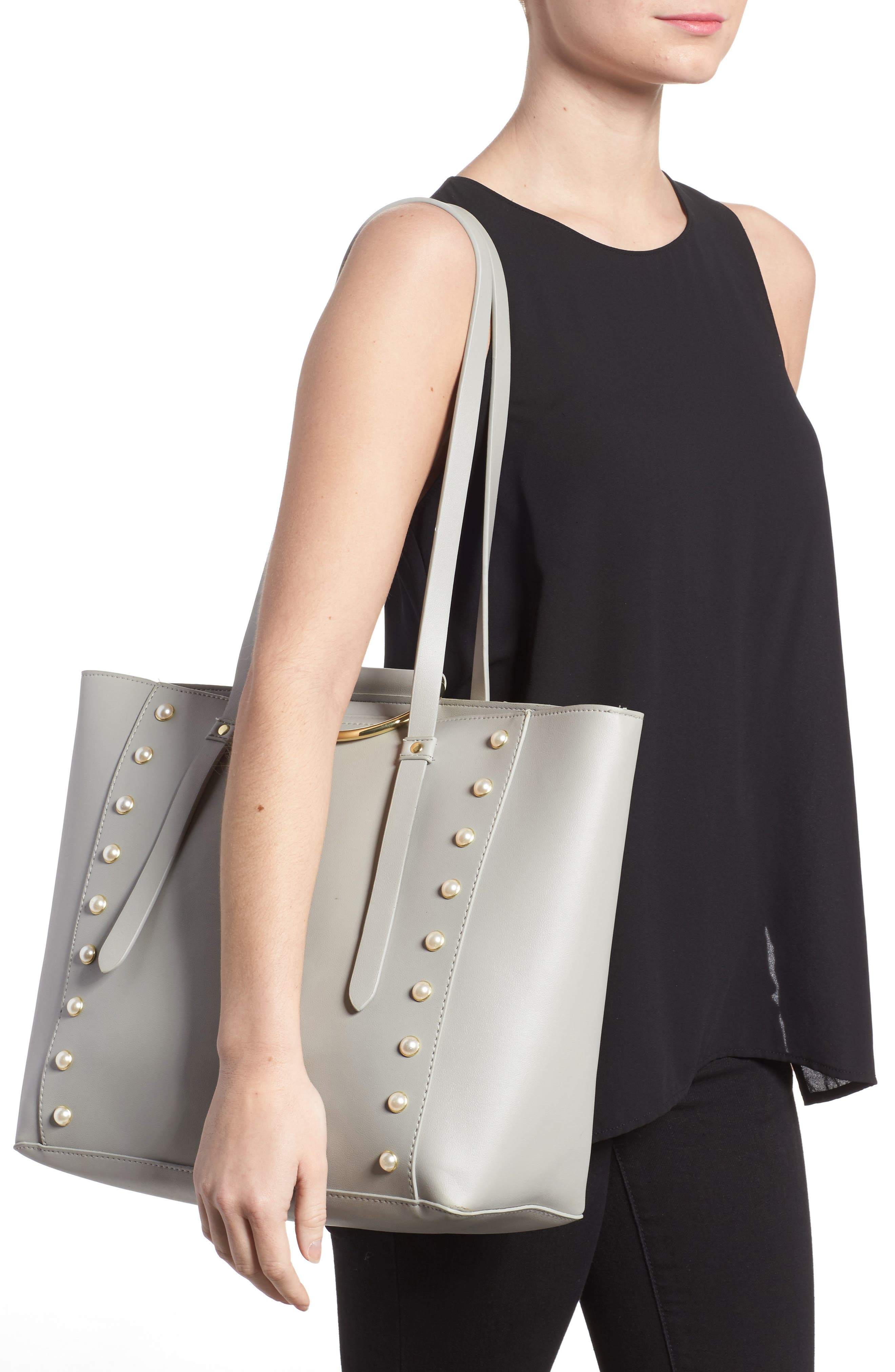 Imitation Pearl Embellished Faux Leather Ring Tote,                             Alternate thumbnail 2, color,                             020