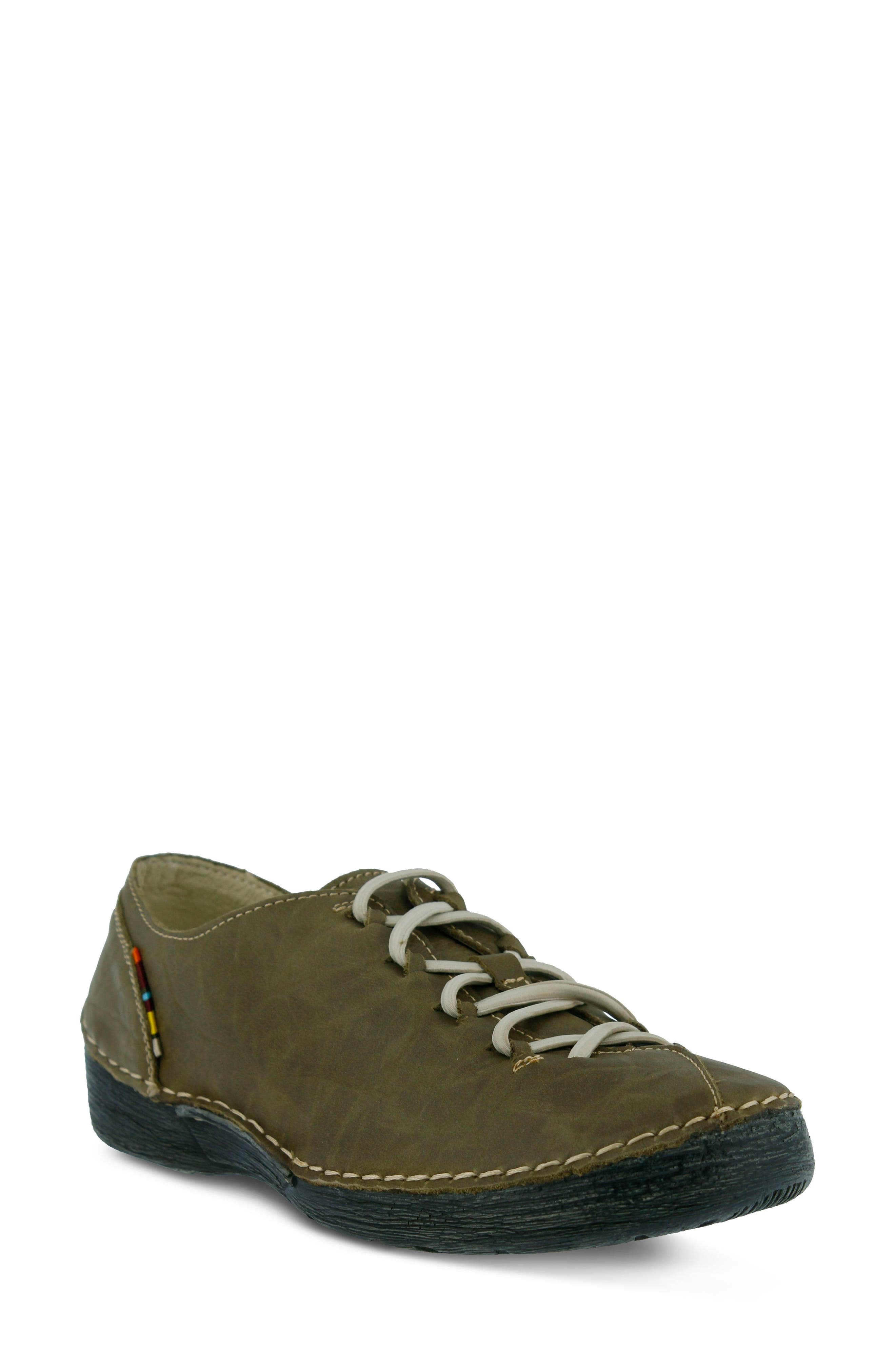 Carhop Sneaker,                             Main thumbnail 1, color,                             OLIVE GREEN LEATHER