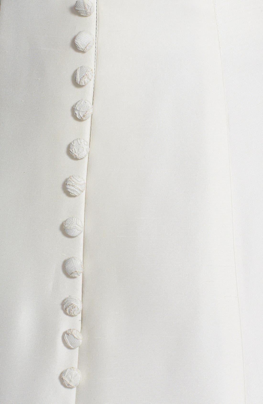 Savannah Removable Illusion Halter Lace Trim Silk Shantung Gown,                             Alternate thumbnail 4, color,                             900