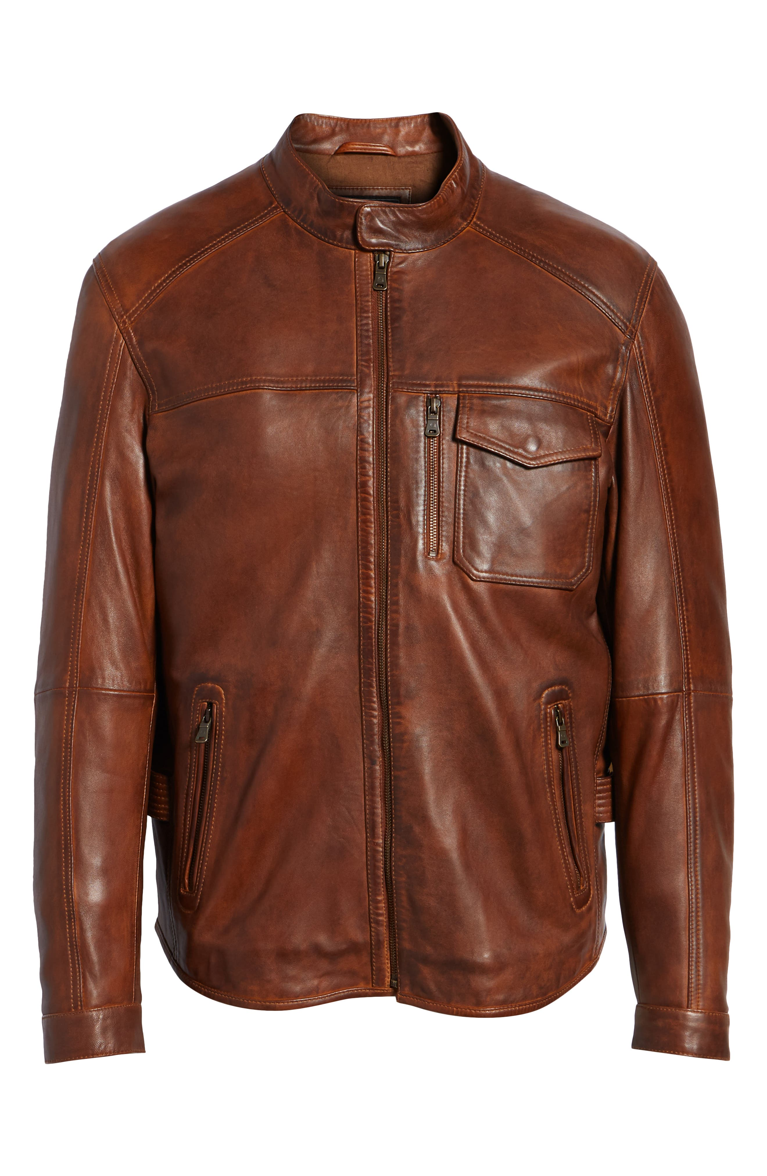 Leather Jacket,                             Alternate thumbnail 5, color,                             BROWN